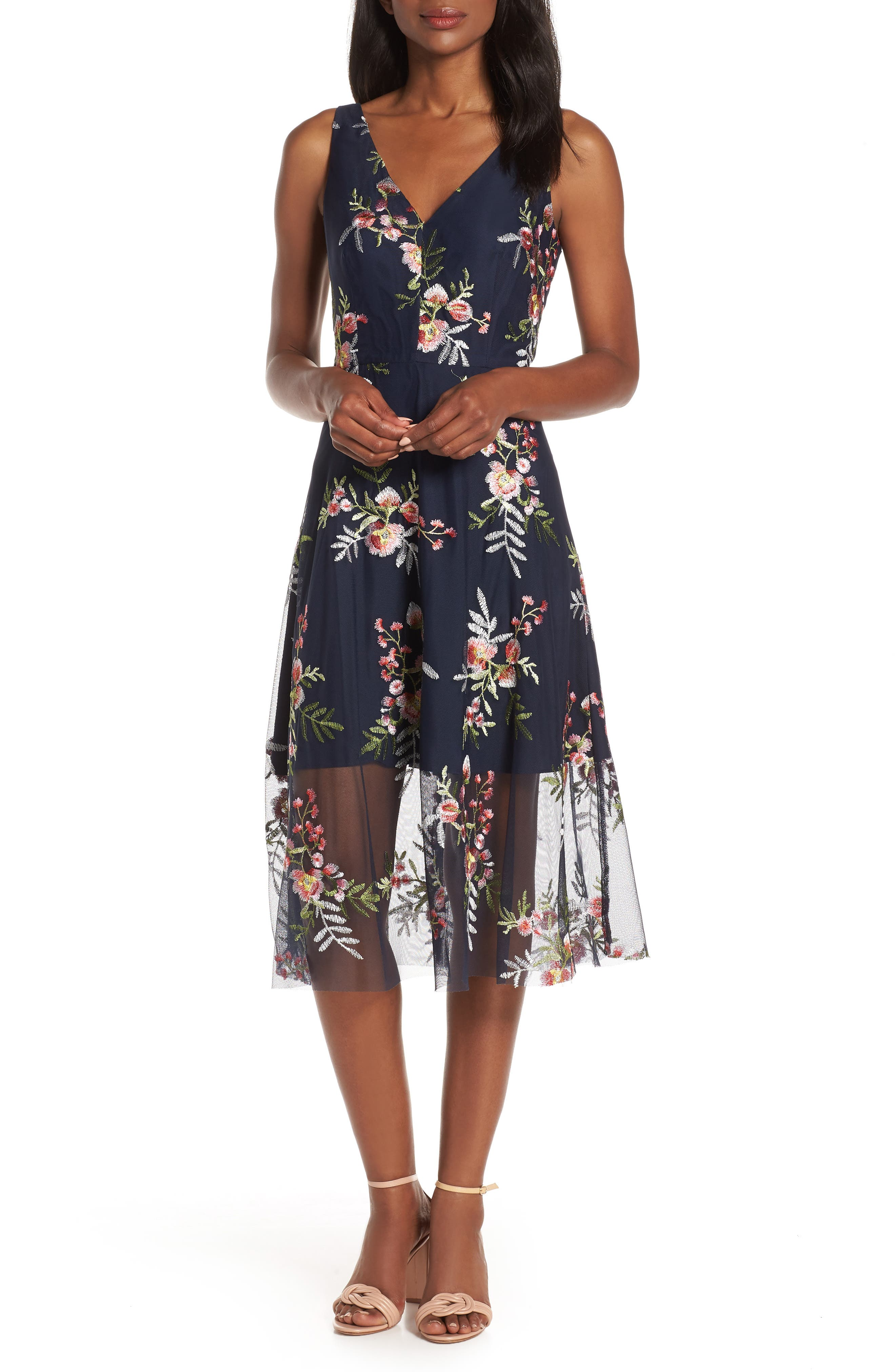 VINCE CAMUTO, Floral Embroidered Mesh Midi Dress, Main thumbnail 1, color, NAVY/ MULTI