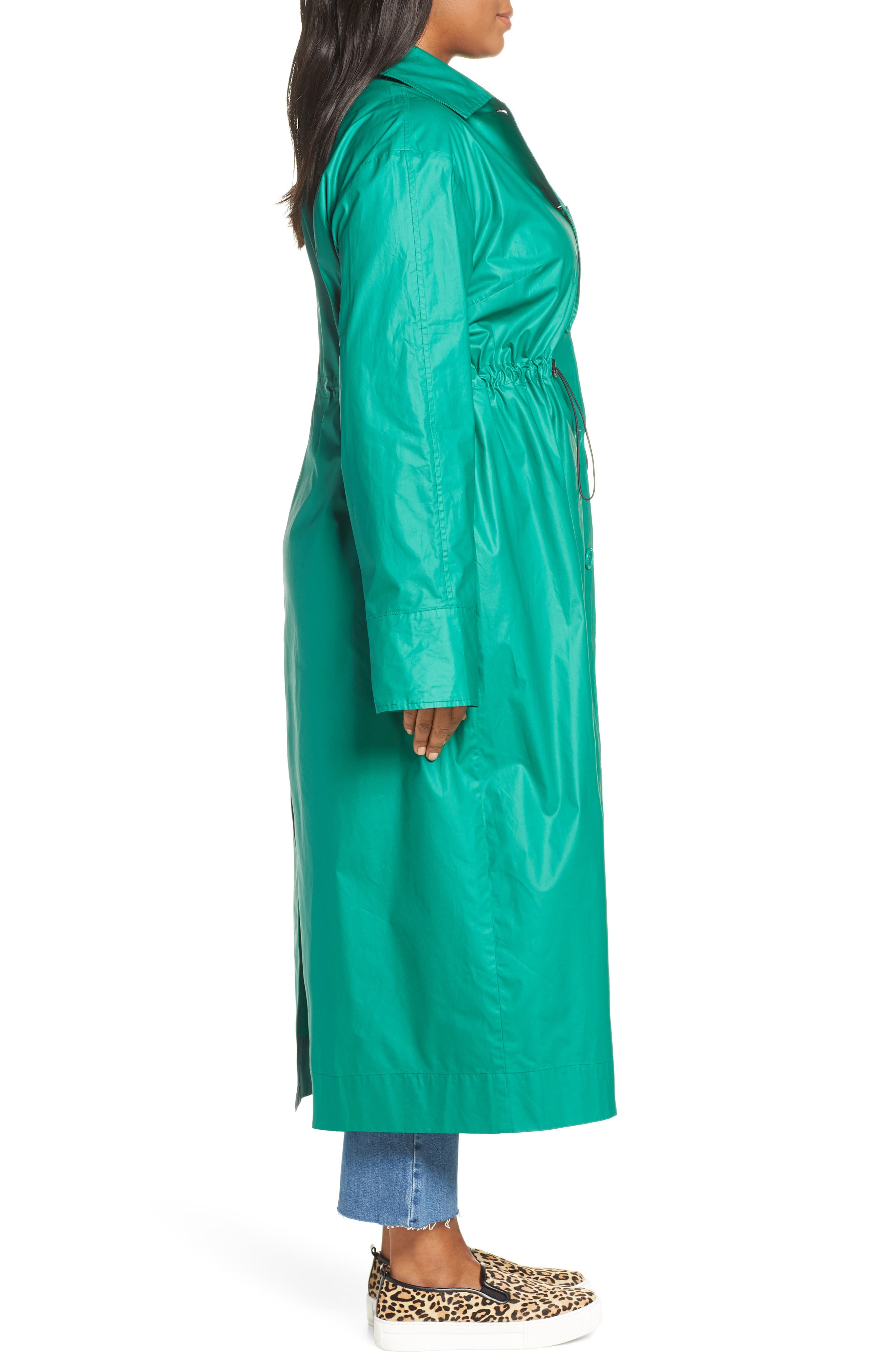 HALOGEN<SUP>®</SUP>, Elongated Cotton Overcoat, Alternate thumbnail 4, color, GREEN ULTRA