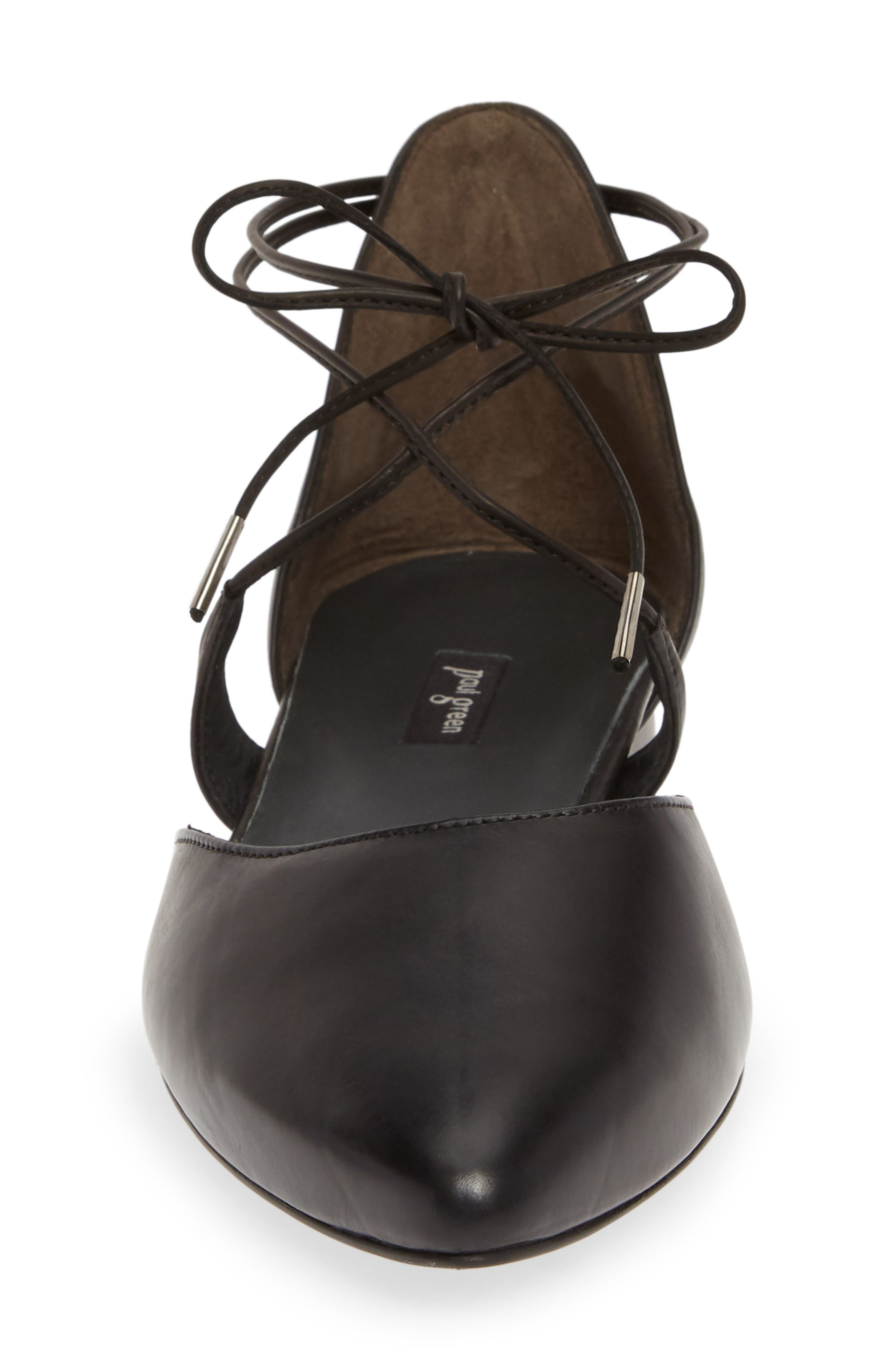 PAUL GREEN, Lace Up Flat, Alternate thumbnail 4, color, BLACK LEATHER