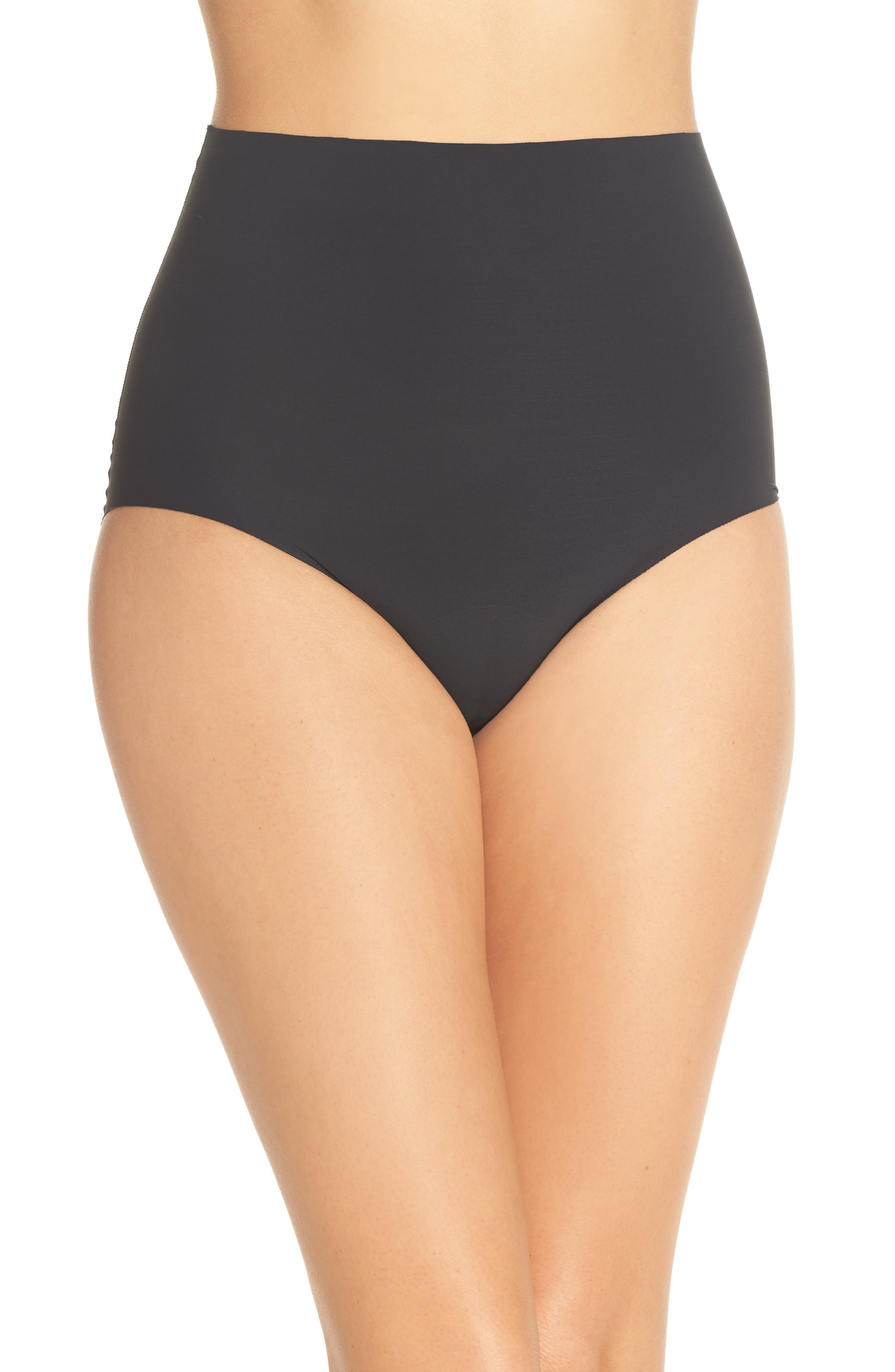 YUMMIE Smooth Solutions Mid Waist Briefs, Main, color, BLACK