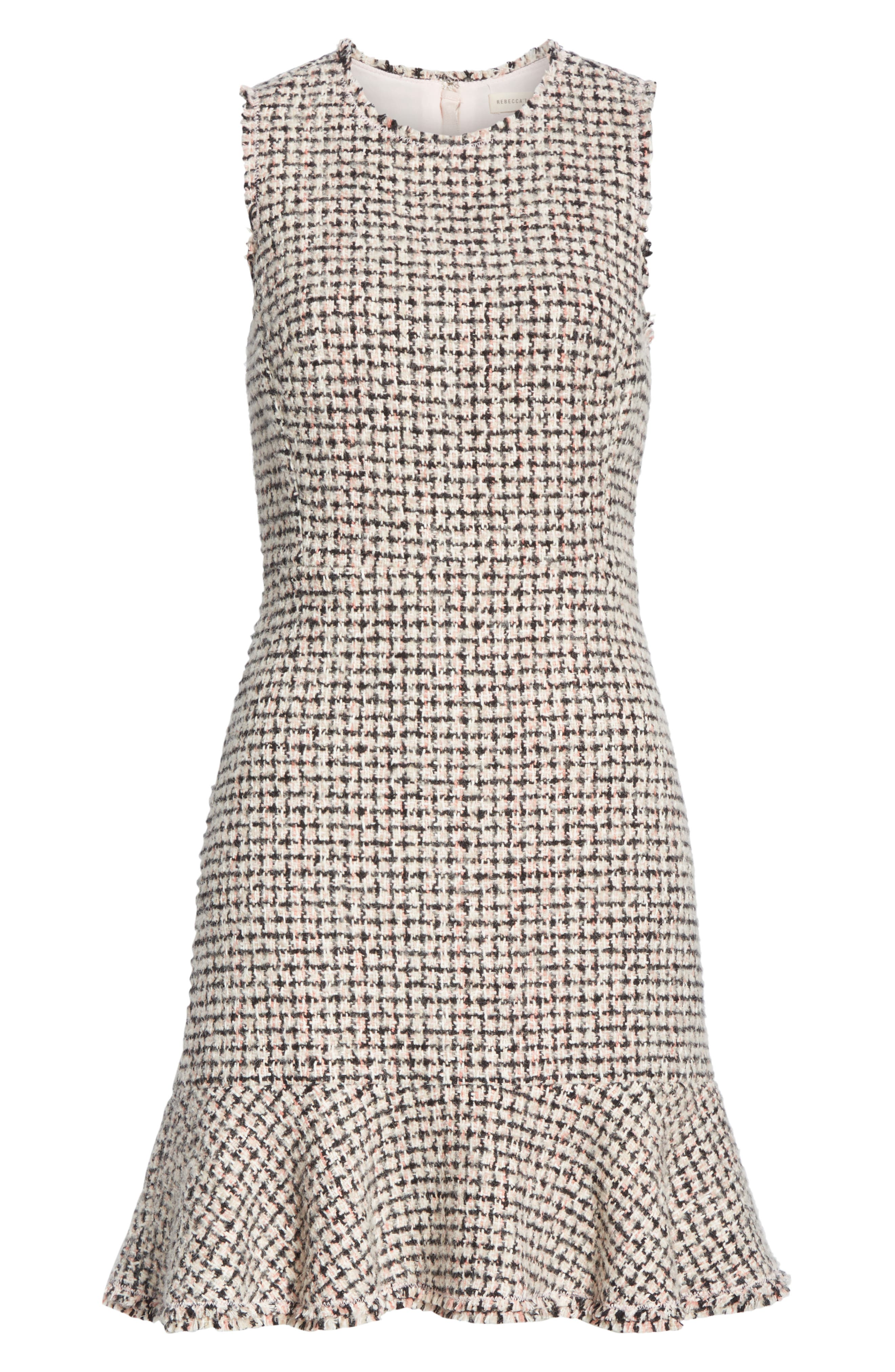 REBECCA TAYLOR, Houndstooth Tweed Dress, Alternate thumbnail 6, color, BLACK/ PINK COMBO