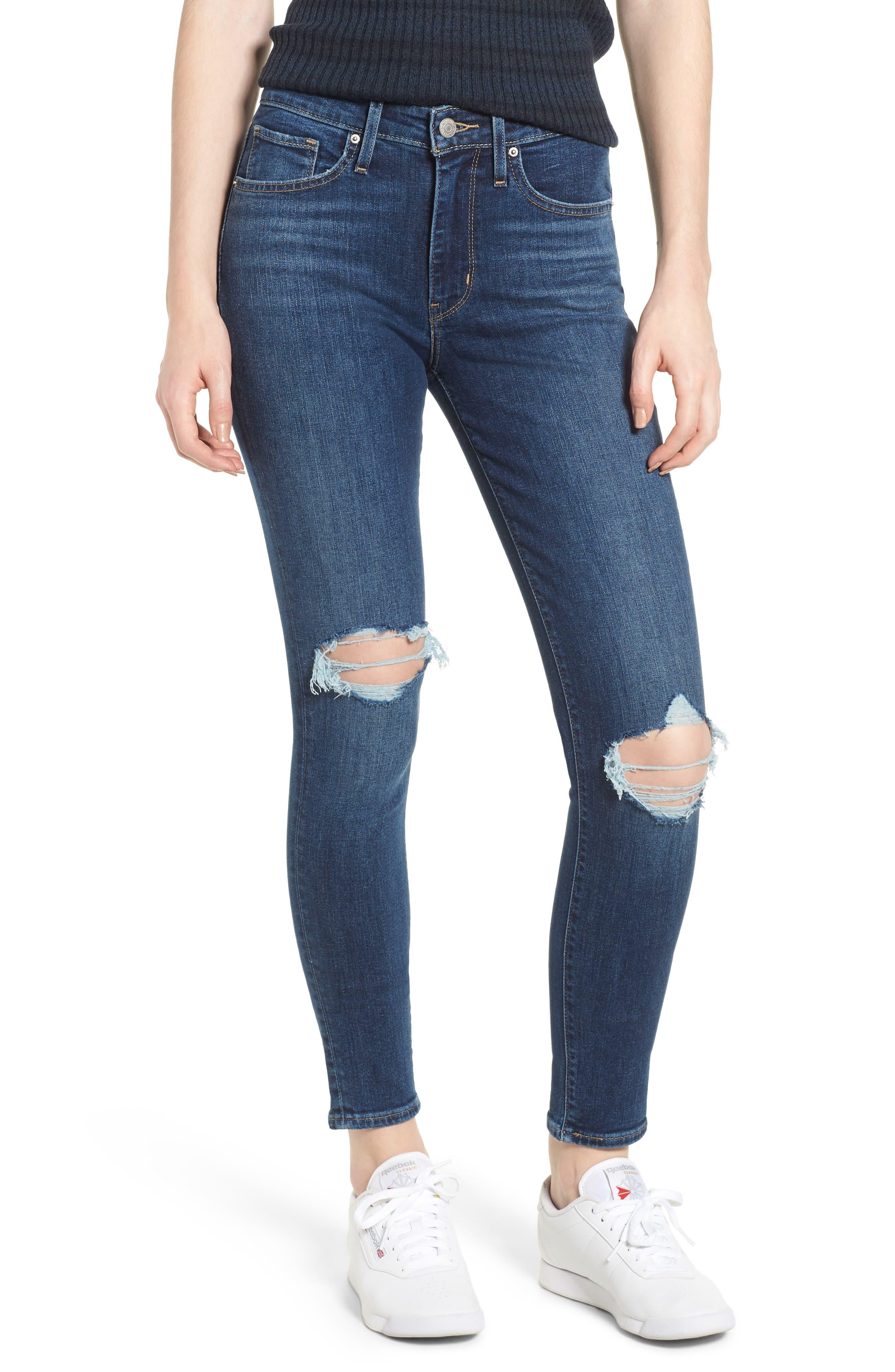 LEVI'S<SUP>®</SUP>, 721<sup>™</sup> Ripped High Waist Skinny Jeans, Main thumbnail 1, color, INDIGO LUNA