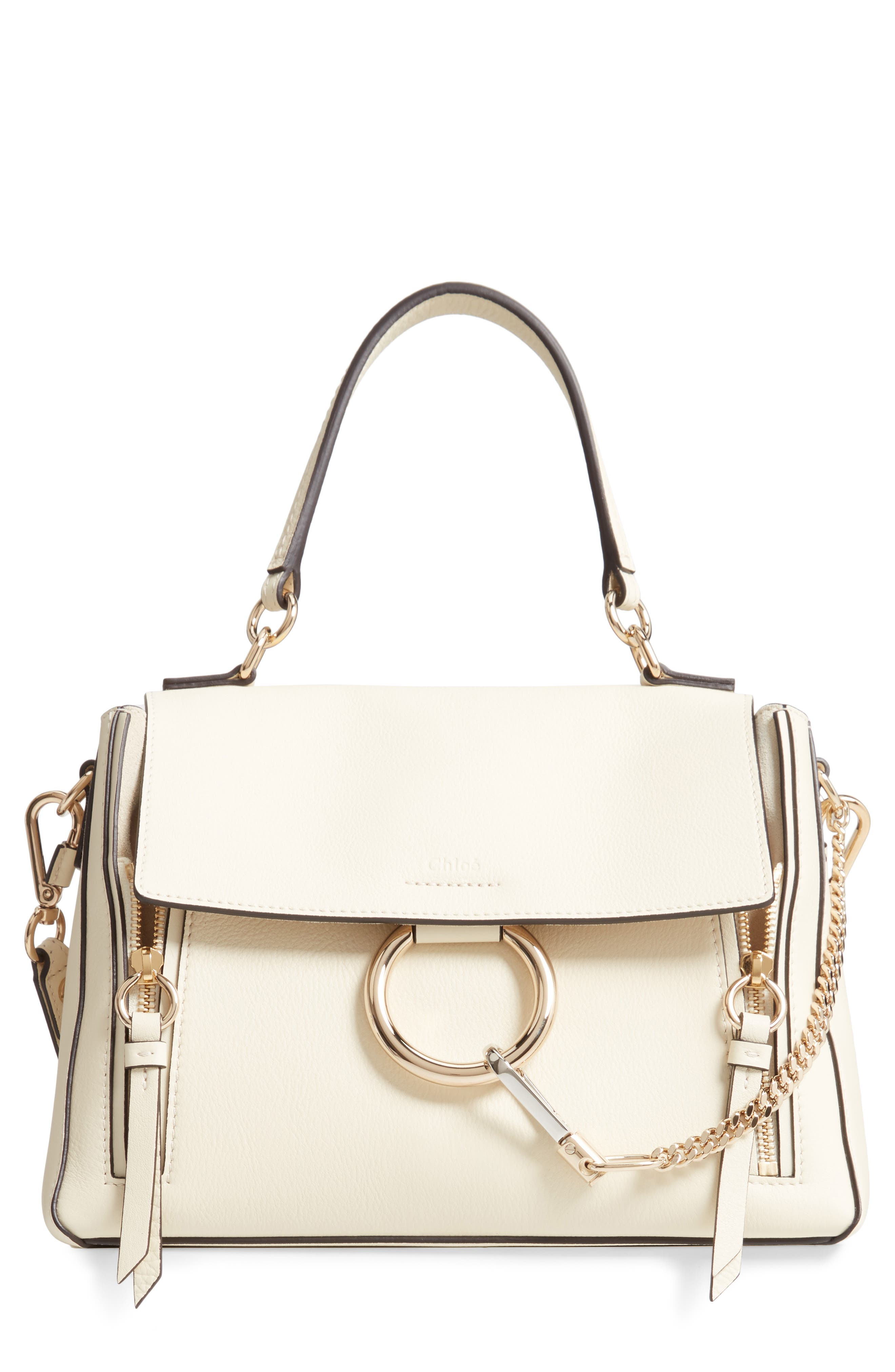 CHLOÉ, Small Faye Day Leather Shoulder Bag, Main thumbnail 1, color, OFF WHITE