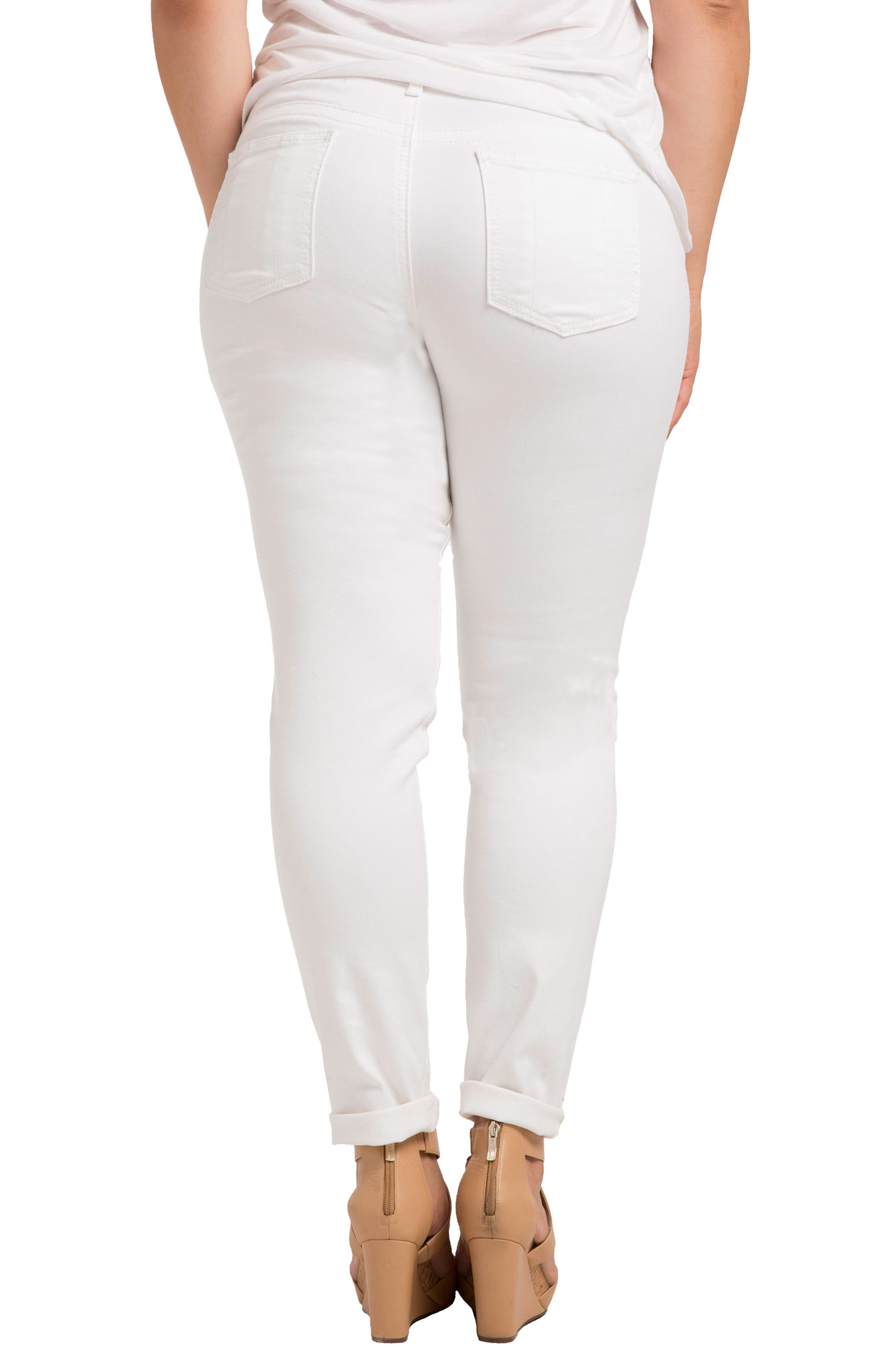 STANDARDS & PRACTICES, Destroyed Stretch Skinny Boyfriend Jeans, Alternate thumbnail 2, color, WHITE