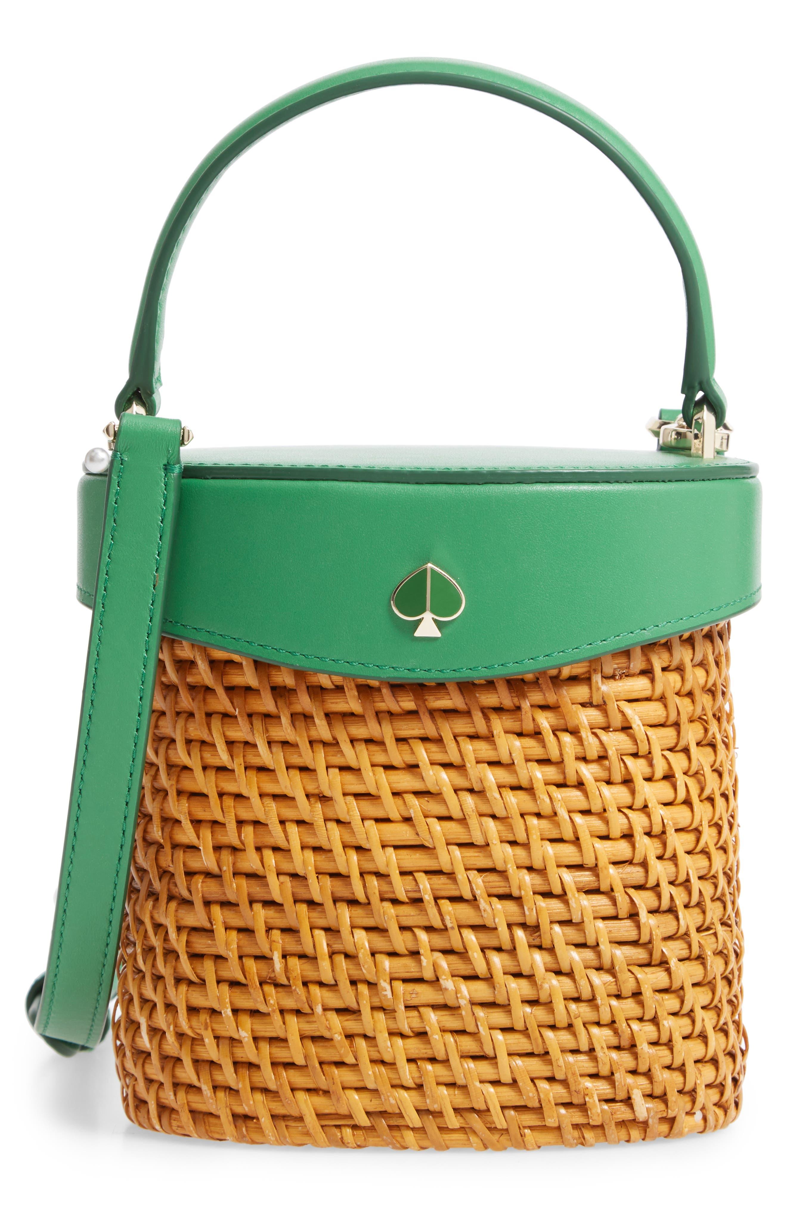 KATE SPADE NEW YORK mini rose rattan bucket bag, Main, color, GREEN BEAN