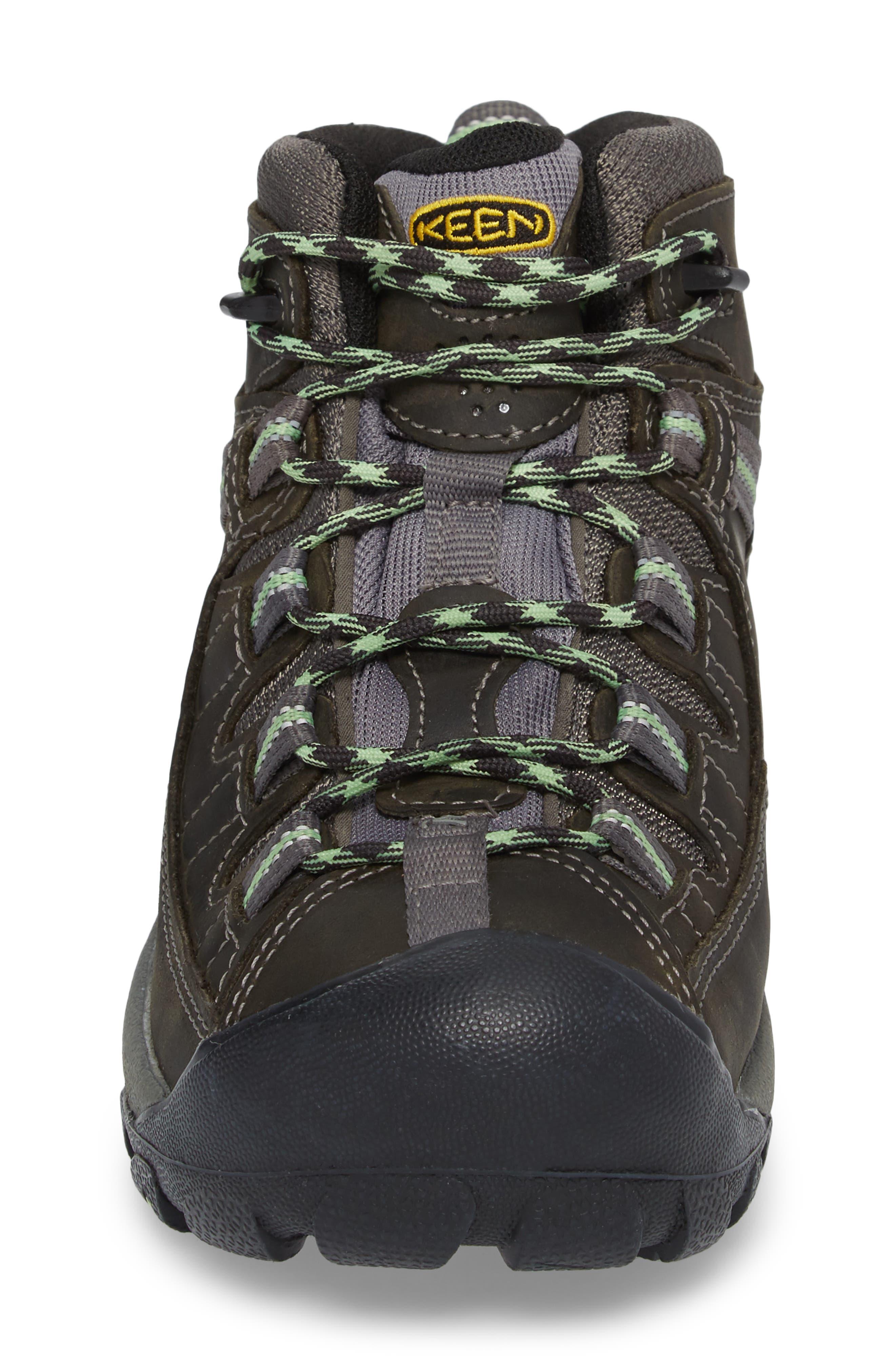 KEEN, Targhee II Mid Waterproof Hiking Boot, Alternate thumbnail 4, color, RAVEN/ OPALINE