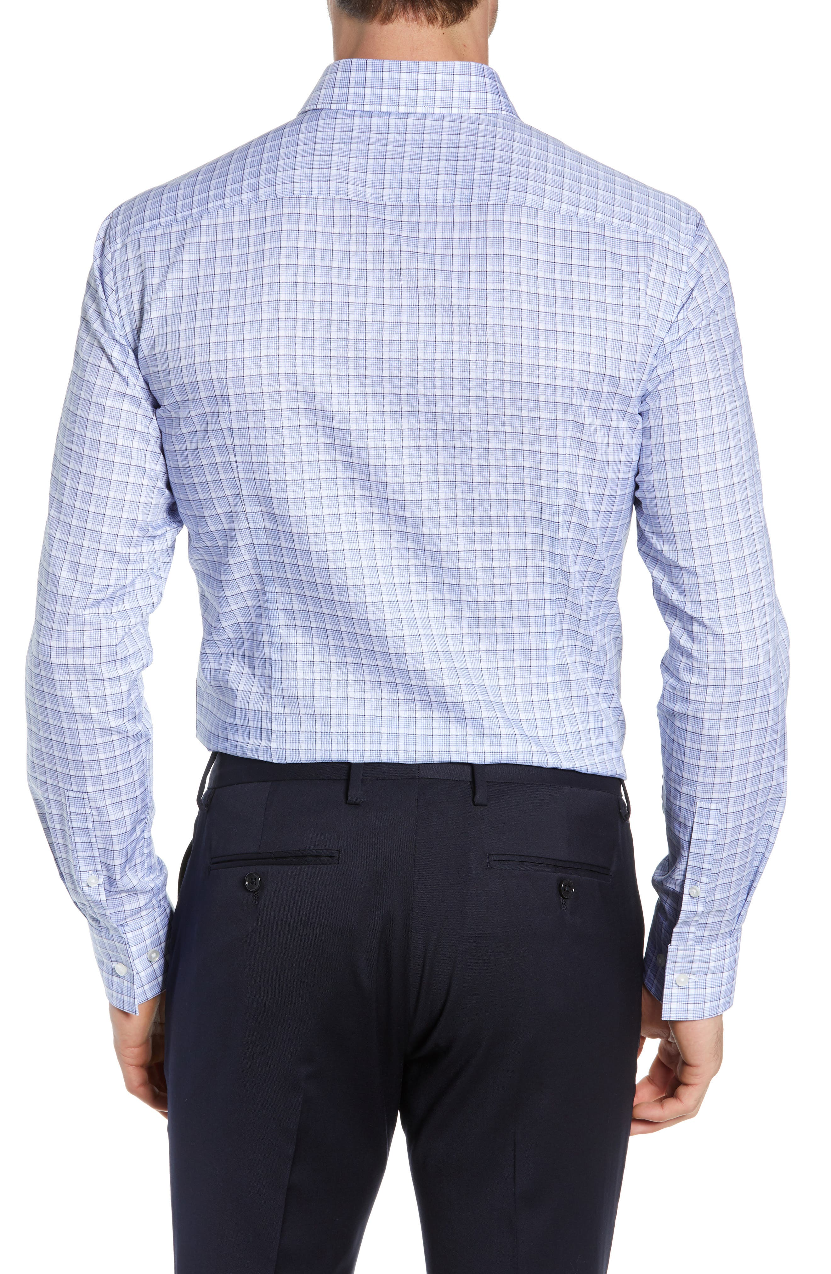 BOSS, Jenno Slim Fit Plaid Dress Shirt, Alternate thumbnail 3, color, BLUE
