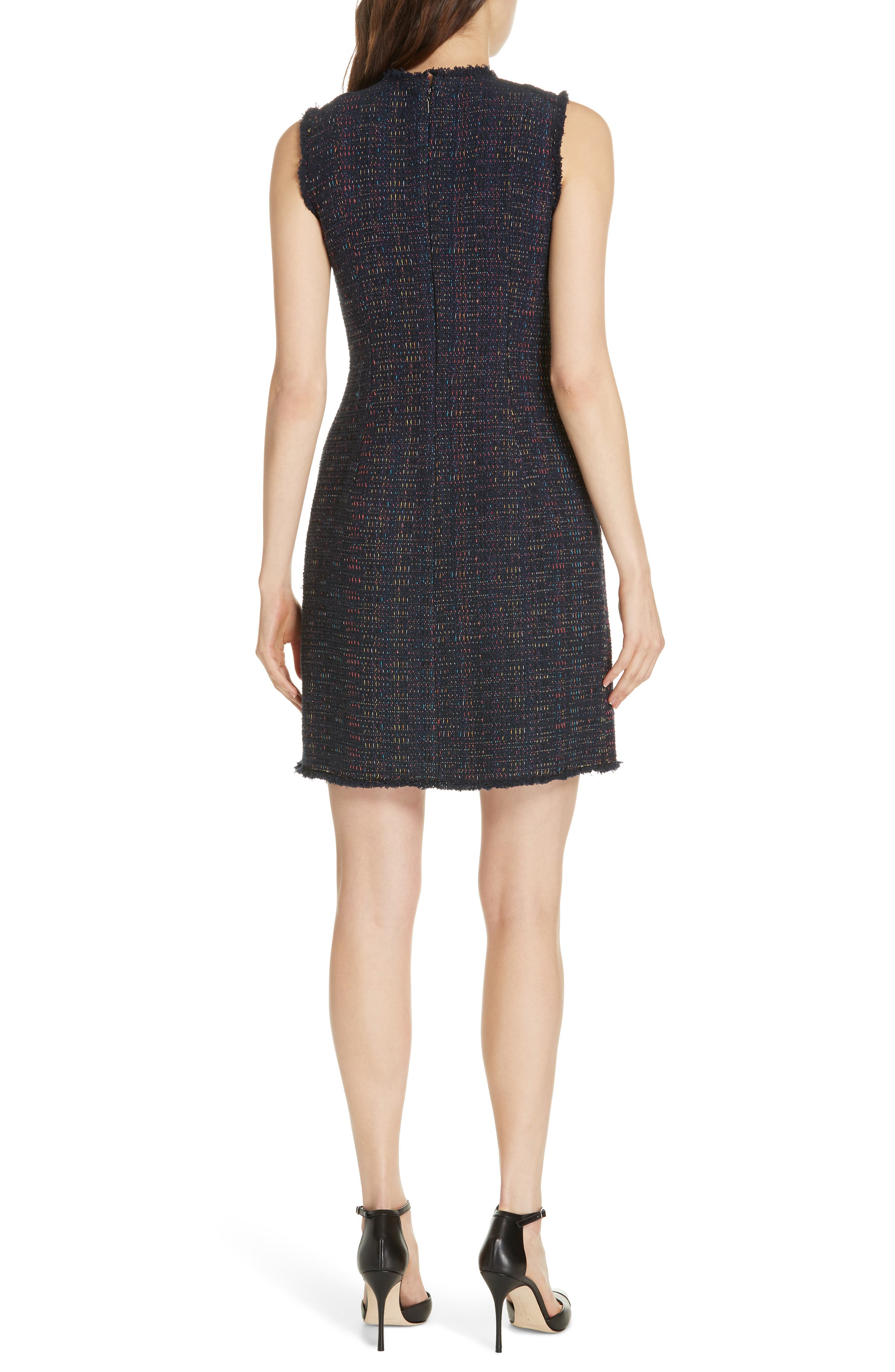 REBECCA TAYLOR, Rainbow Tweed Fit & Flare Dress, Alternate thumbnail 2, color, NAVY
