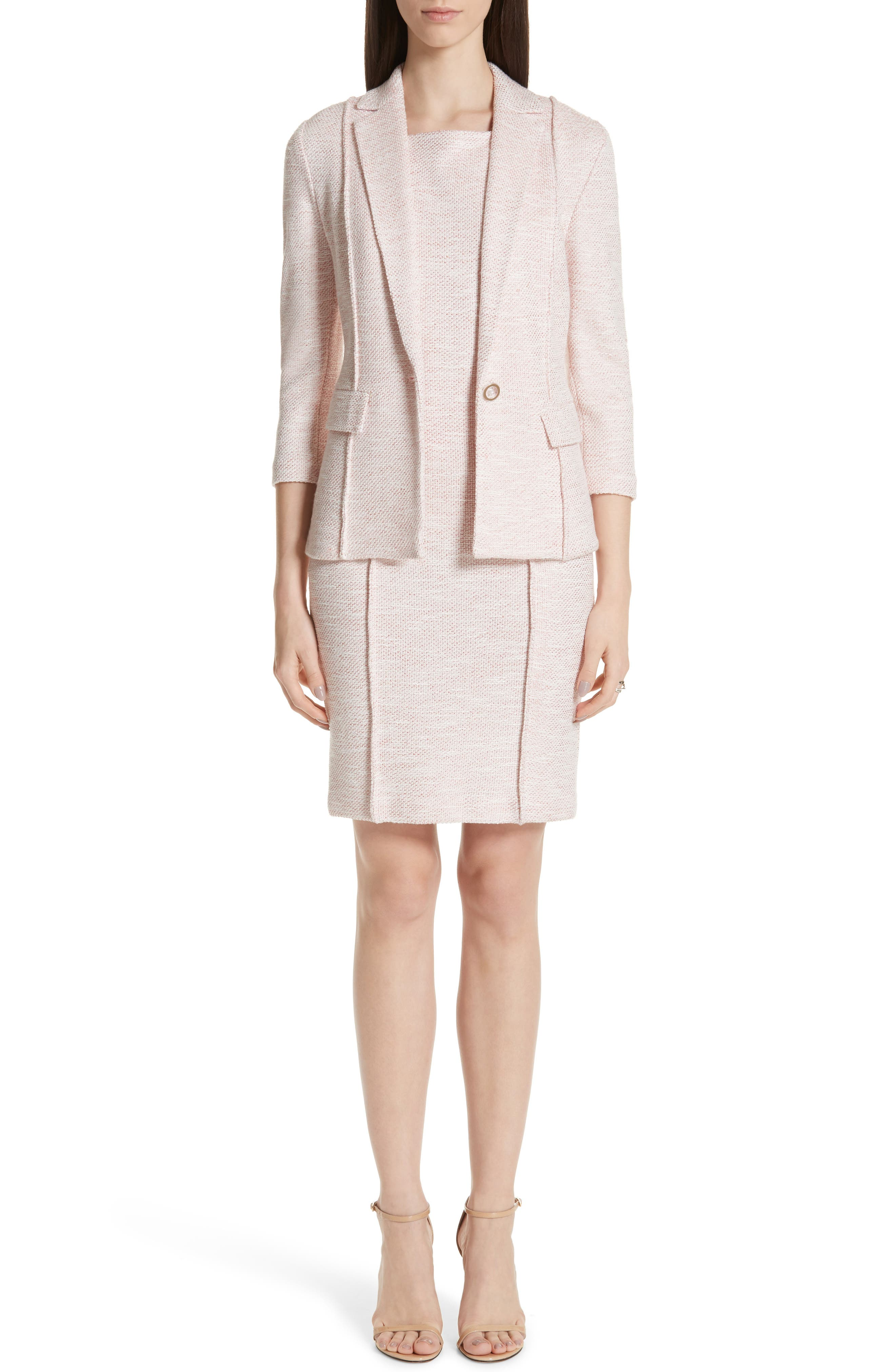 ST. JOHN COLLECTION, Belinda Knit Square Neck Dress, Alternate thumbnail 7, color, WHITE/ CORAL MULTI