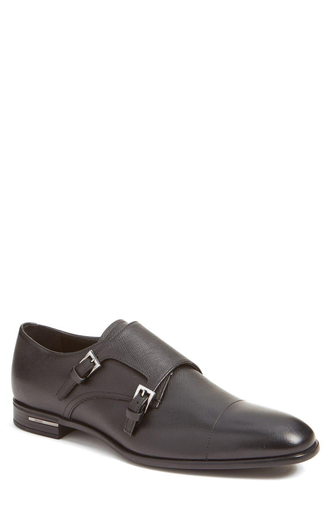 PRADA Double Monk Strap Shoe, Main, color, NERO LEATHER
