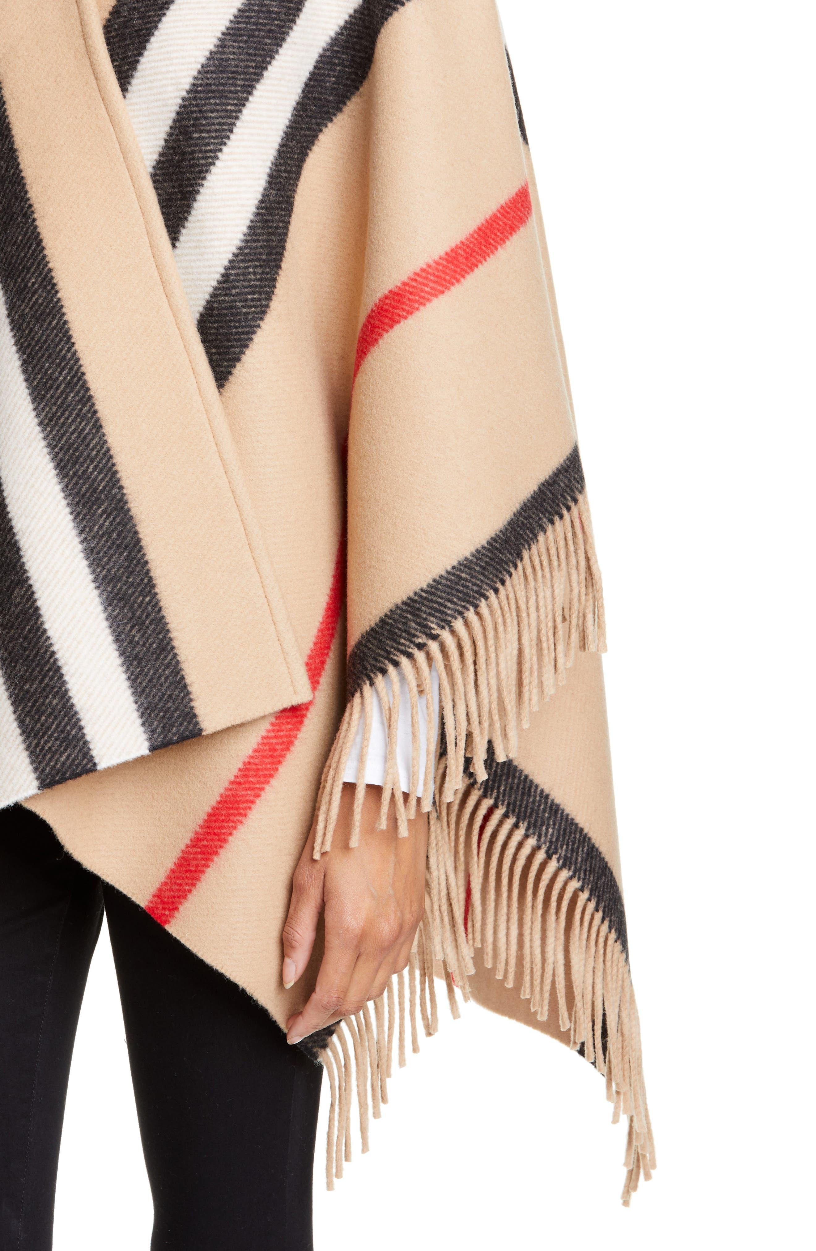 BURBERRY, Stripe Fringe Wool Cape, Alternate thumbnail 4, color, CAMEL