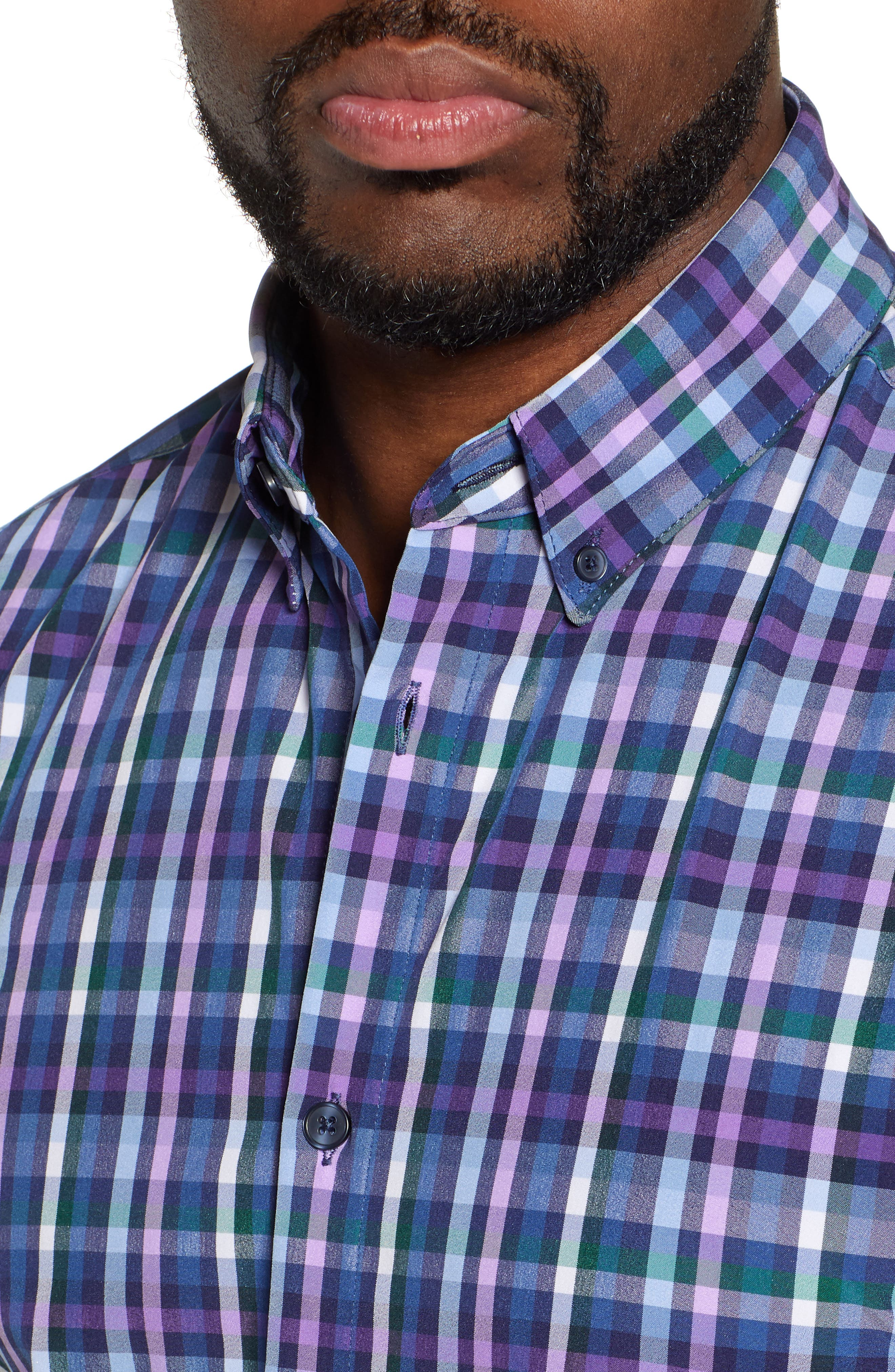 MIZZEN+MAIN, Snyder Plaid Performance Sport Shirt, Alternate thumbnail 2, color, NAVY