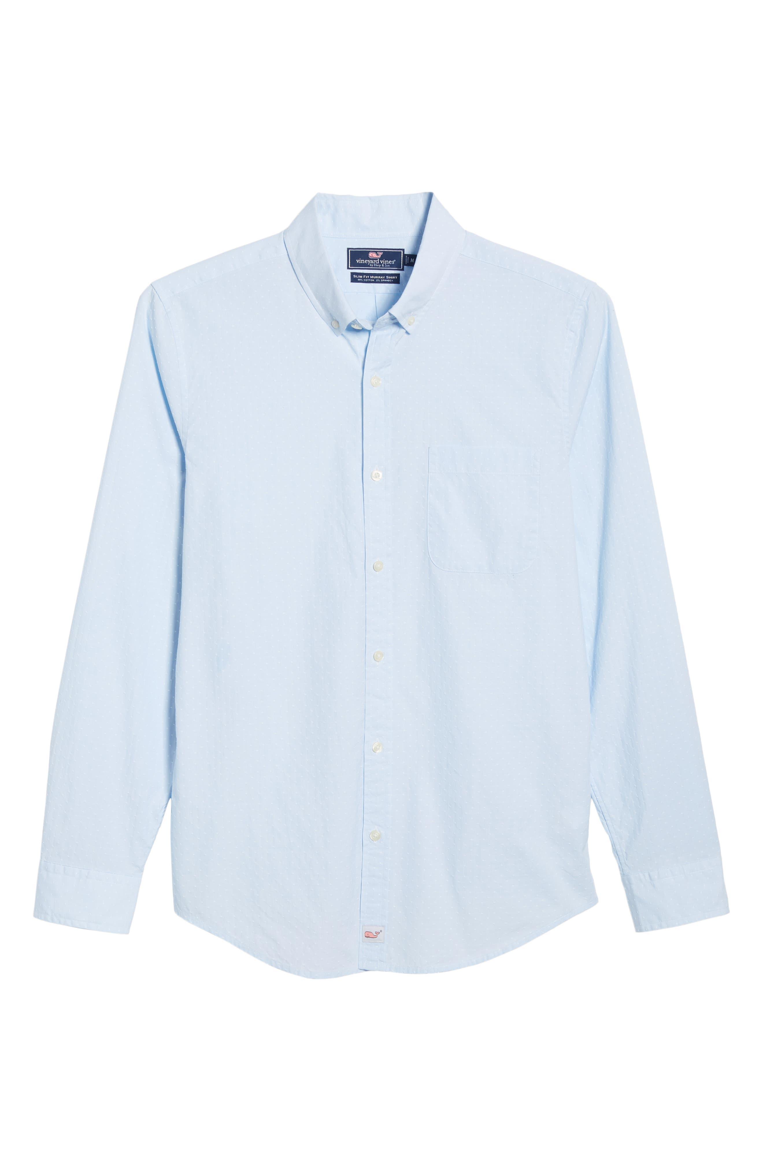 VINEYARD VINES, Wavine Slim Fit Dobby Sport Shirt, Alternate thumbnail 5, color, JAKE BLUE