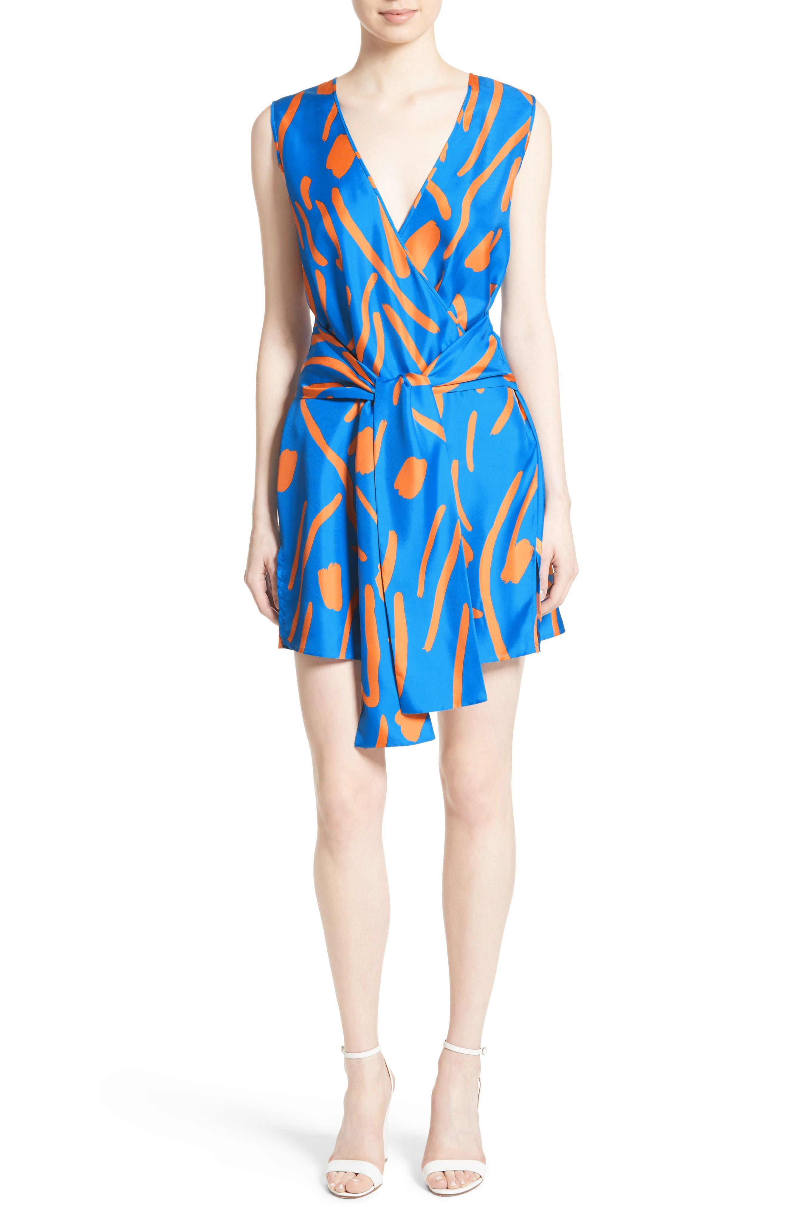 DIANE VON FURSTENBERG, Tie Front Faux Wrap Silk Dress, Main thumbnail 1, color, 494