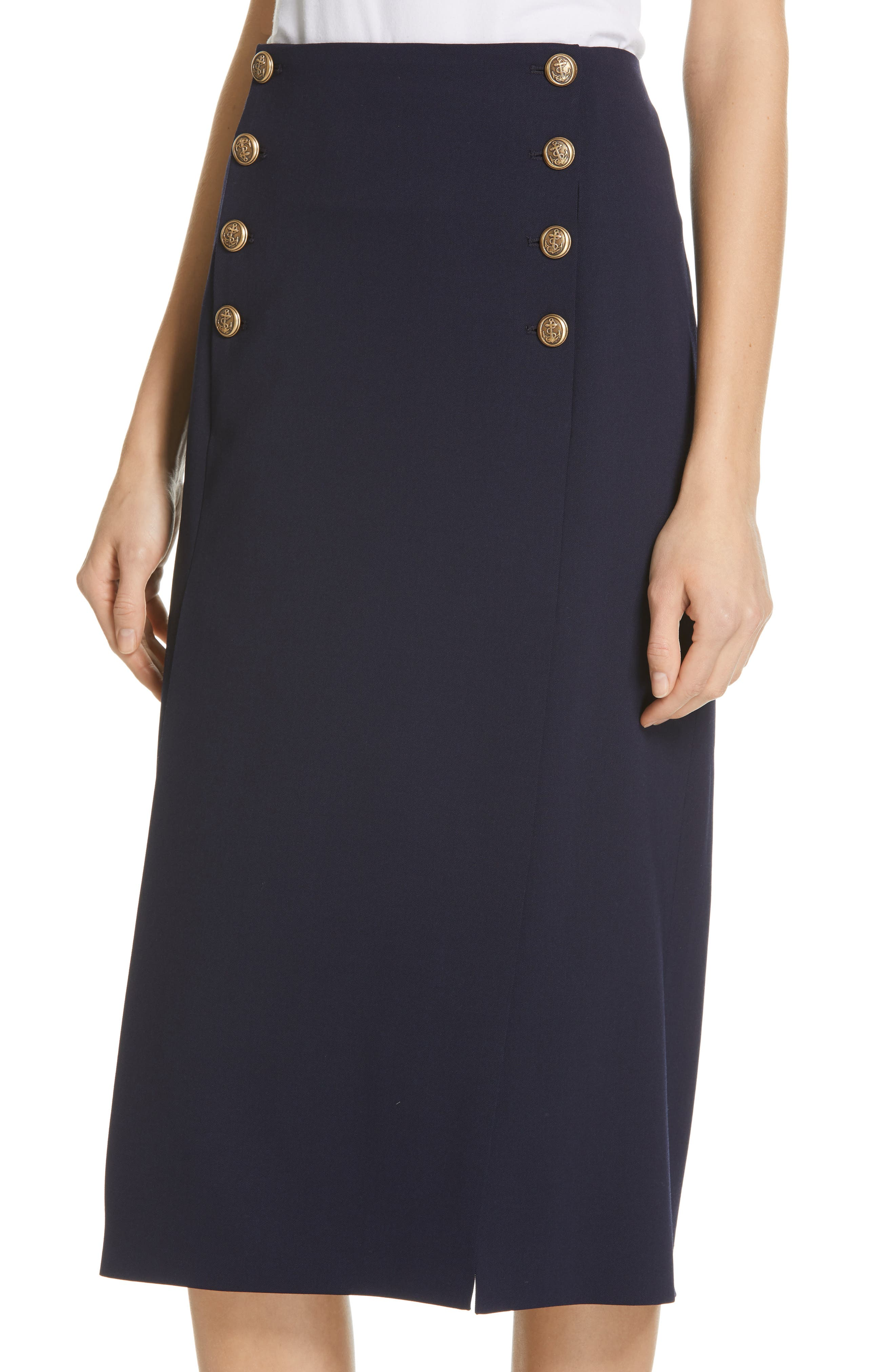 POLO RALPH LAUREN, A-Line Skirt, Alternate thumbnail 4, color, NAVY