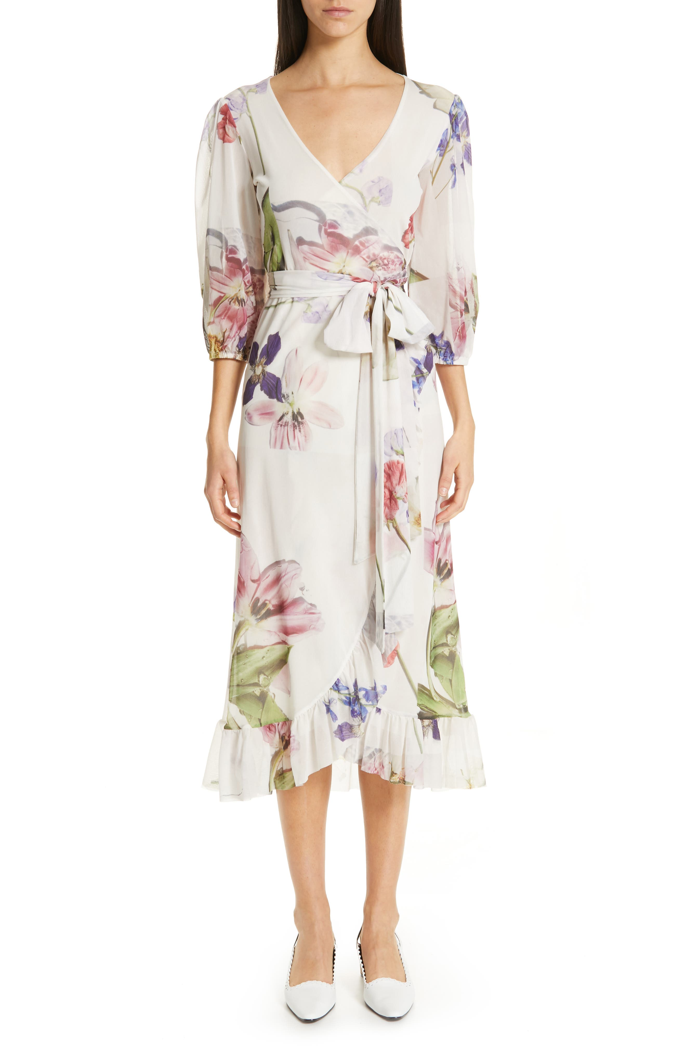 GANNI, Floral Print Mesh Dress, Main thumbnail 1, color, BRIGHT WHITE