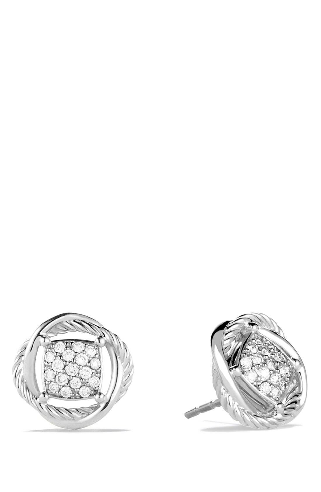 DAVID YURMAN, 'Infinity' Pavé Diamond Stud Earrings, Main thumbnail 1, color, DIAMOND