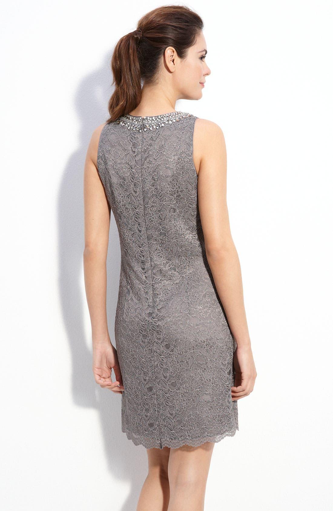 MAGGY LONDON, Beaded Lace Shift Dress, Alternate thumbnail 2, color, 020