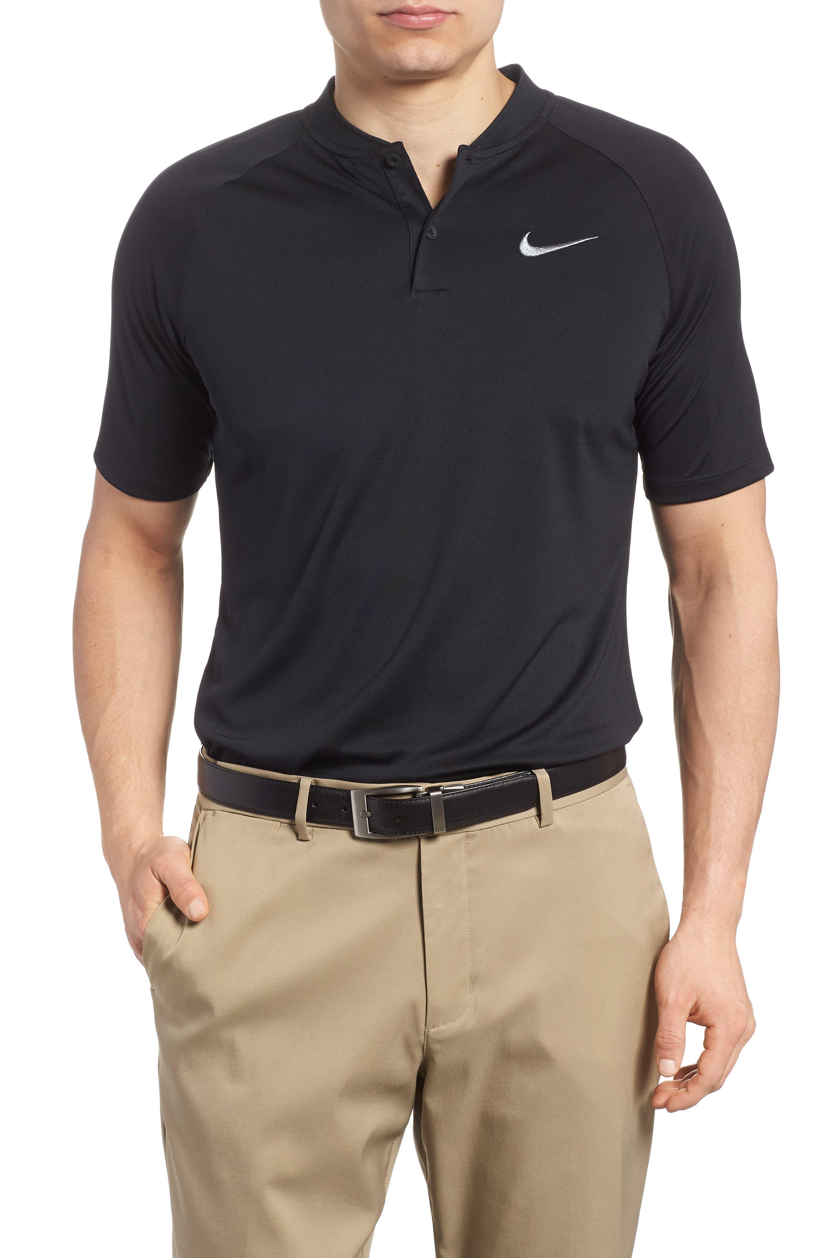 NIKE, Momentum Dri-FIT Golf Polo, Main thumbnail 1, color, BLACK/ BLACK/ GUNSMOKE