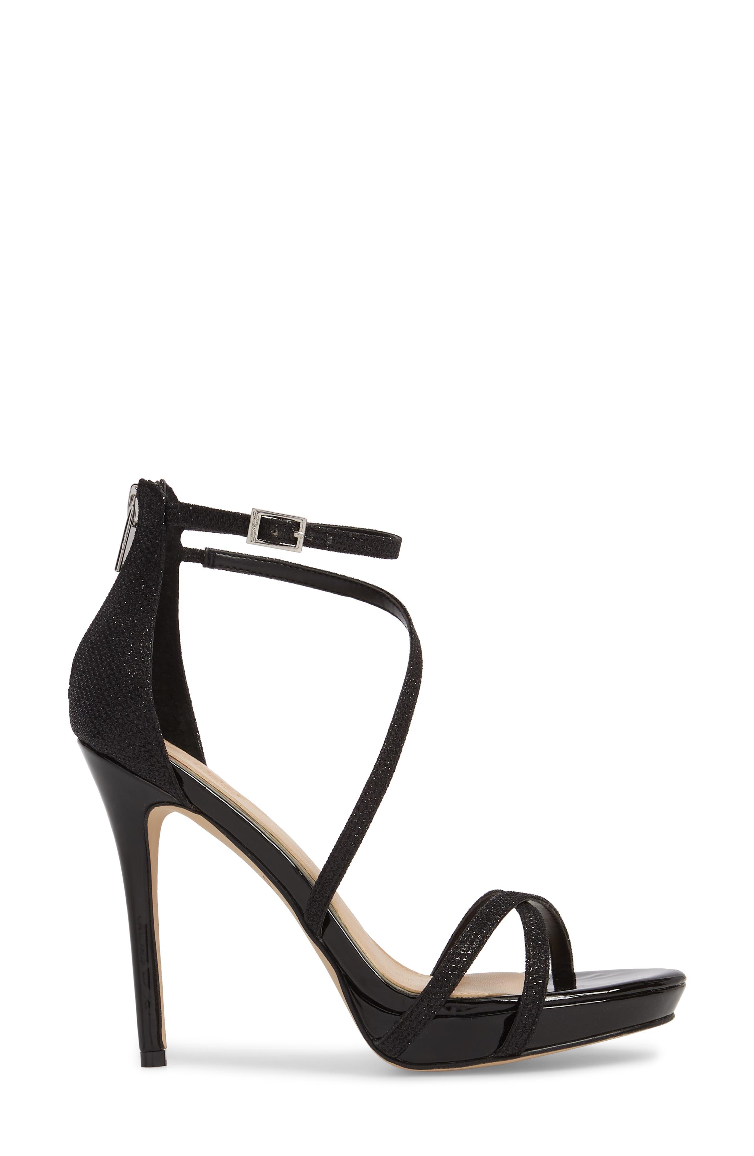JEWEL BADGLEY MISCHKA, Galen Strappy Platform Sandal, Alternate thumbnail 3, color, BLACK GLITTER FABRIC