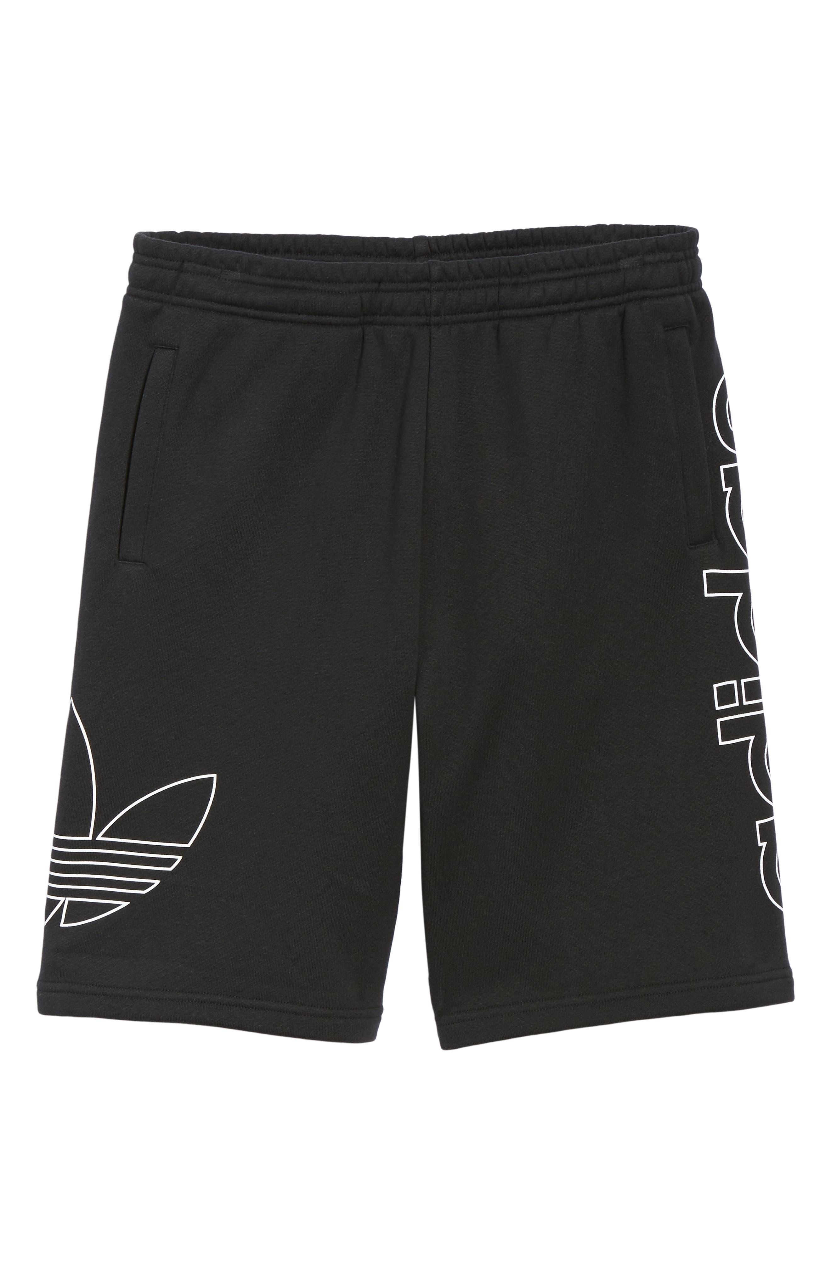 ADIDAS ORIGINALS, FT OTLN Athletic Shorts, Alternate thumbnail 6, color, BLACK/ WHITE