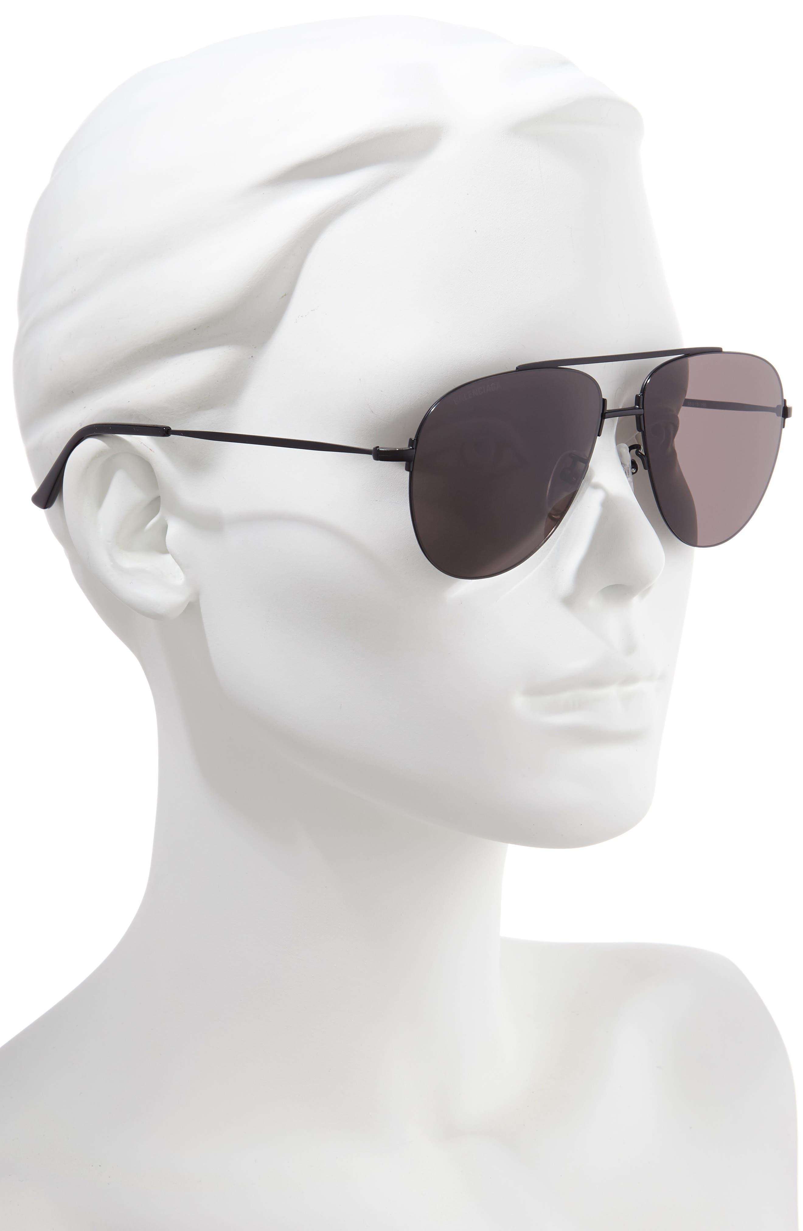 BALENCIAGA, 59mm Aviator Sunglasses, Alternate thumbnail 2, color, SEMI-MATTE BLACK/ GREY