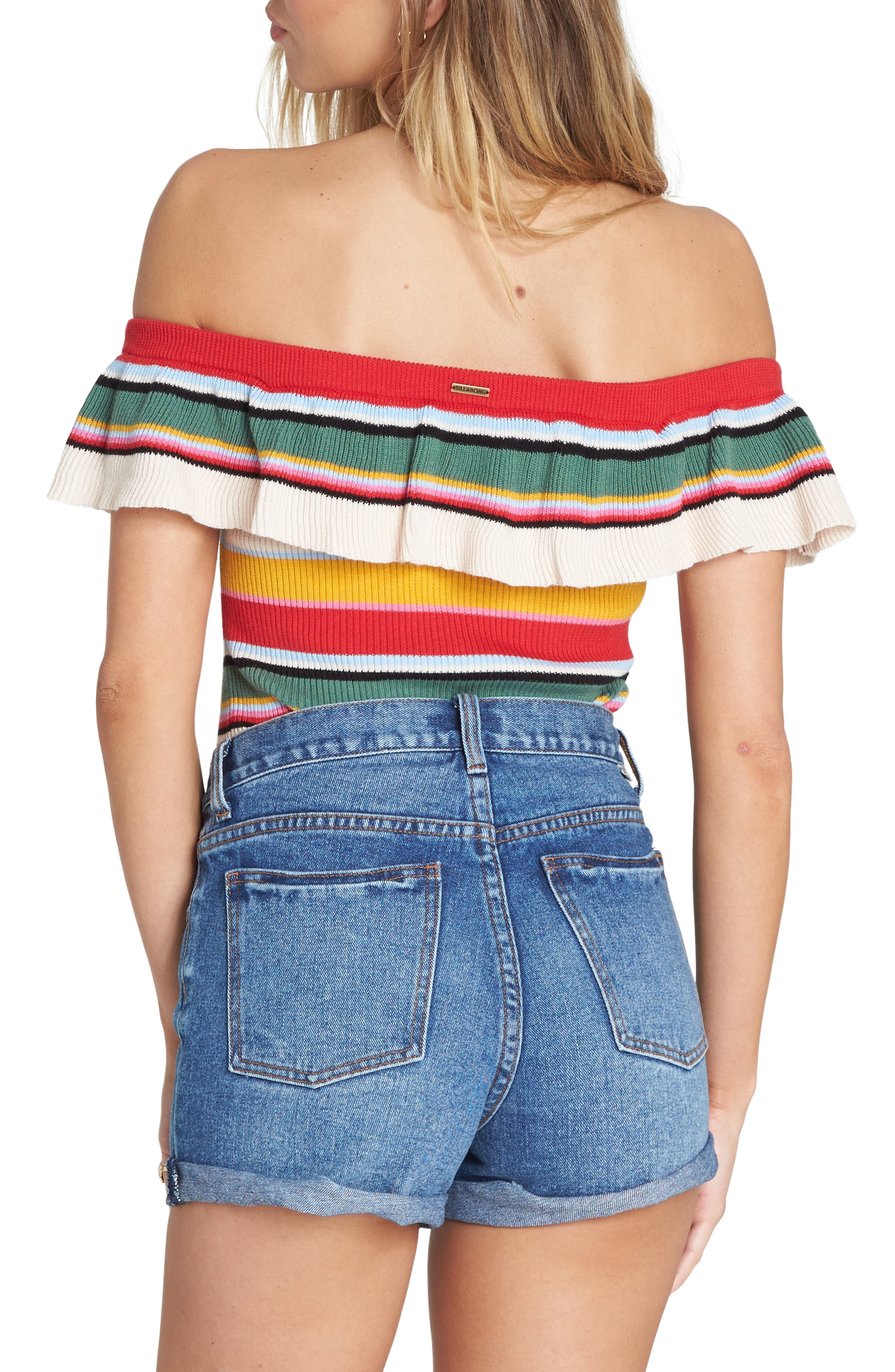 BILLABONG, Take a Trip Off the Shoulder Top, Alternate thumbnail 2, color, MULTI
