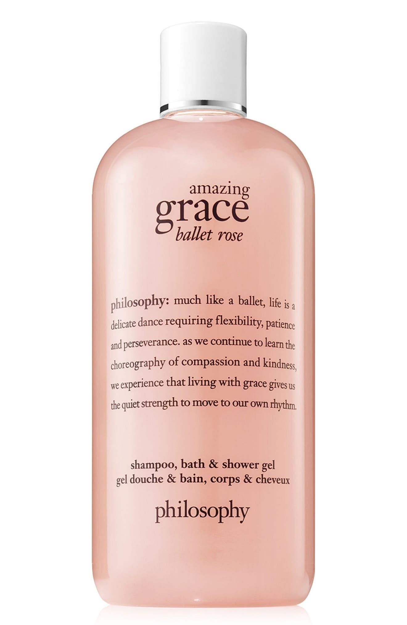 PHILOSOPHY, amazing grace ballet rose shampoo, bath & shower gel, Main thumbnail 1, color, NO COLOR