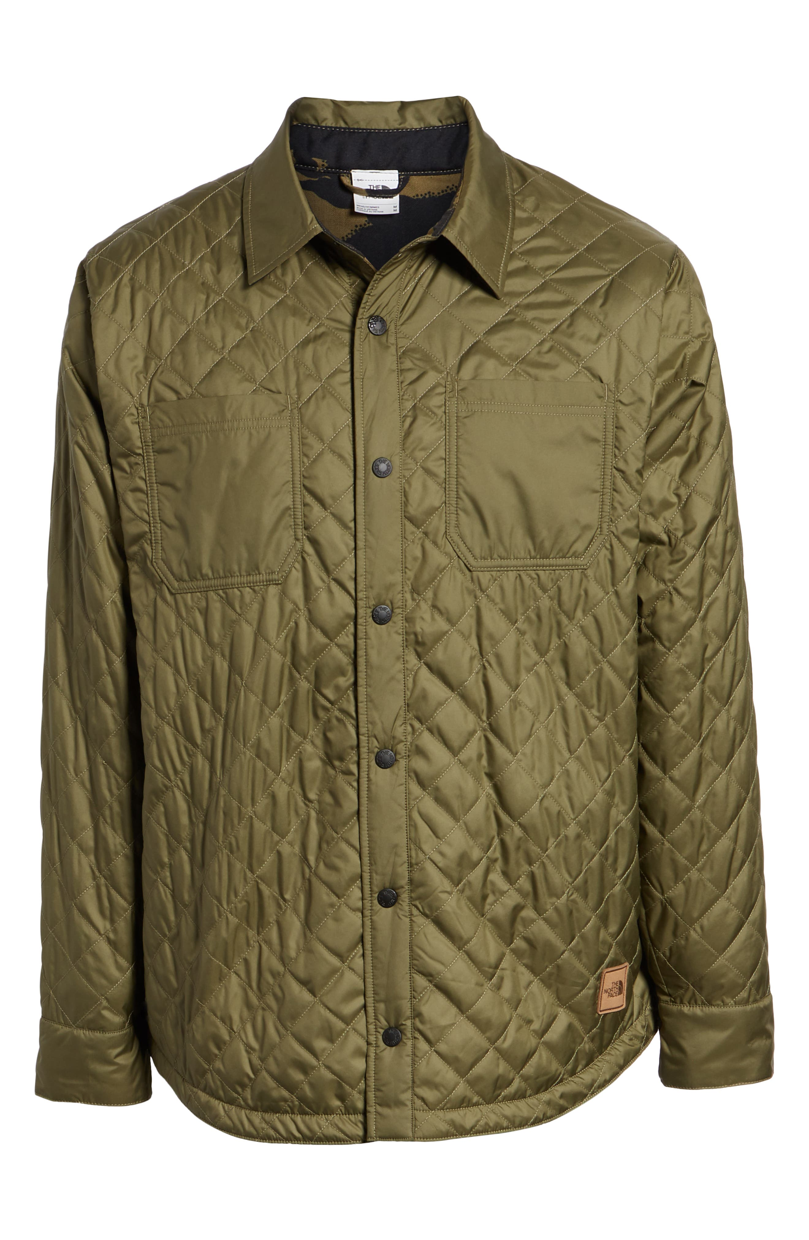 THE NORTH FACE, Fort Point Insulated Reversible Shirt Jacket, Alternate thumbnail 6, color, BURNT OLIVE GREEN