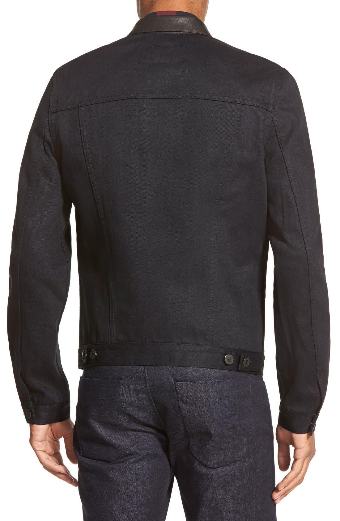 BURBERRY, Brit 'Skipper' Trim Fit Denim Jacket with Leather Collar, Alternate thumbnail 4, color, 001