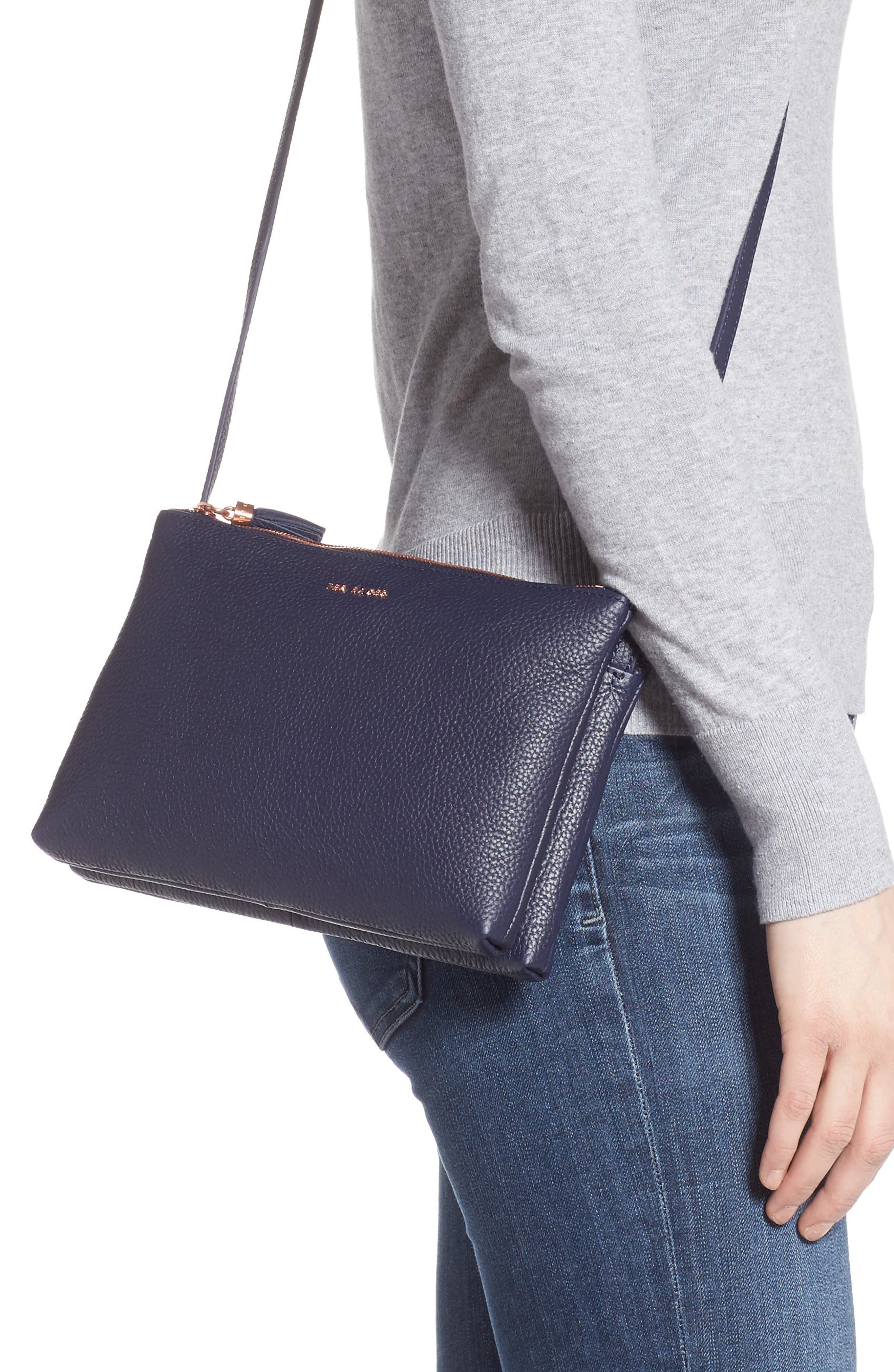 TED BAKER LONDON, Maceyy Double Zip Leather Crossbody Bag, Alternate thumbnail 2, color, NAVY