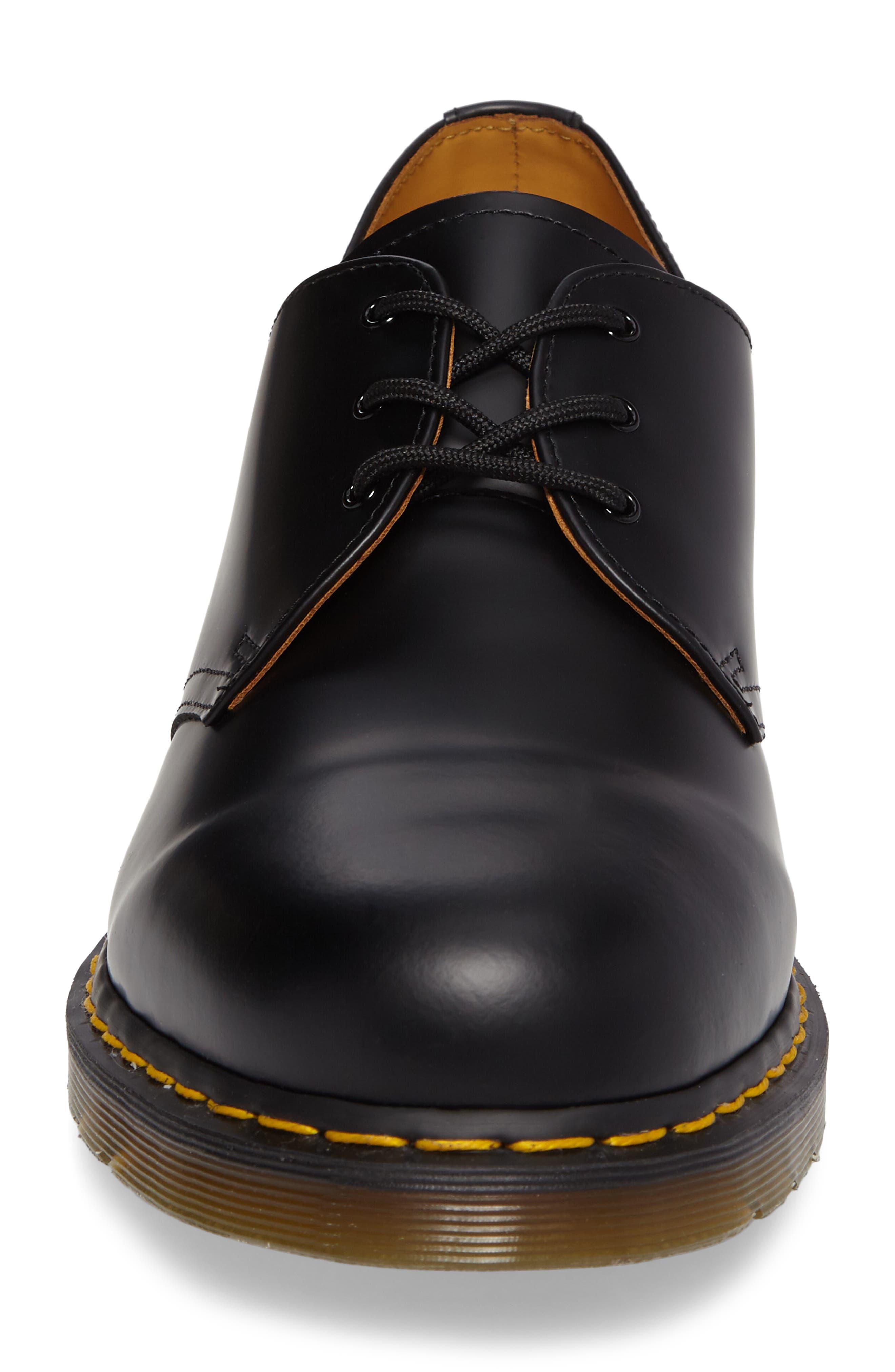 DR. MARTENS, Plain Toe Derby, Alternate thumbnail 4, color, BLACK SMOOTH