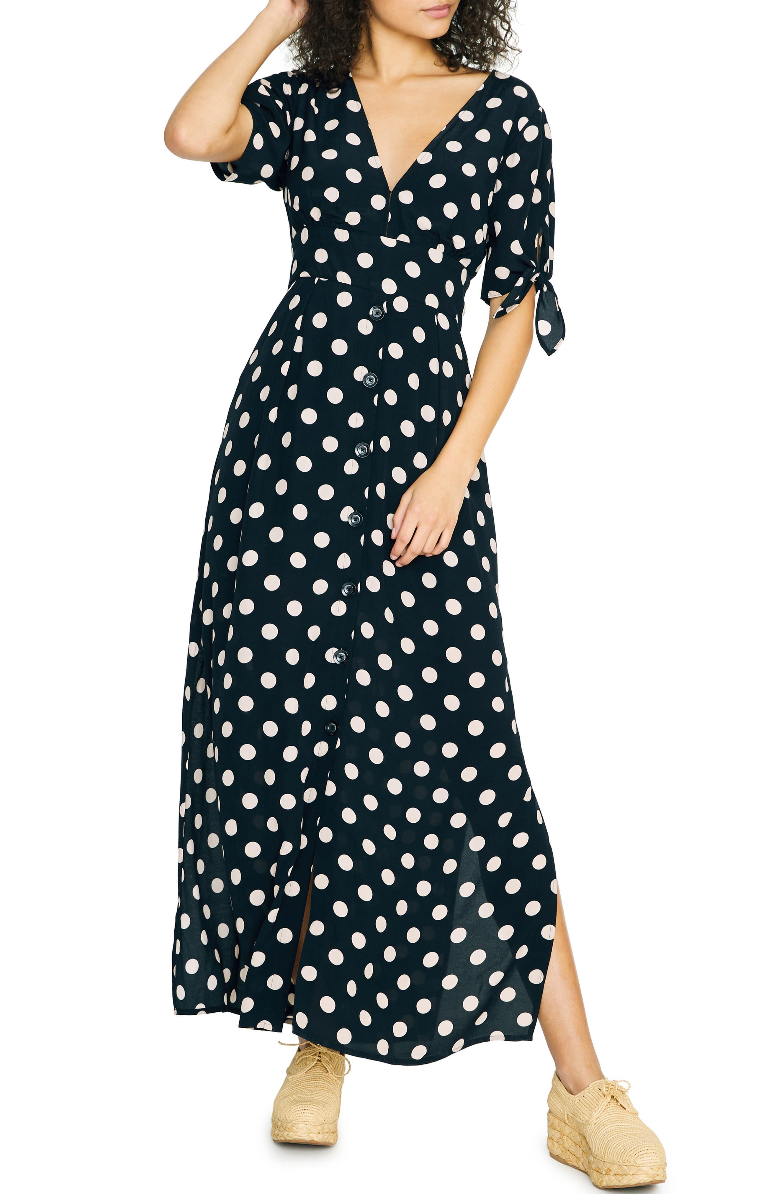 Sanctuary Love Worn Polka Dot Maxi Dress, Black