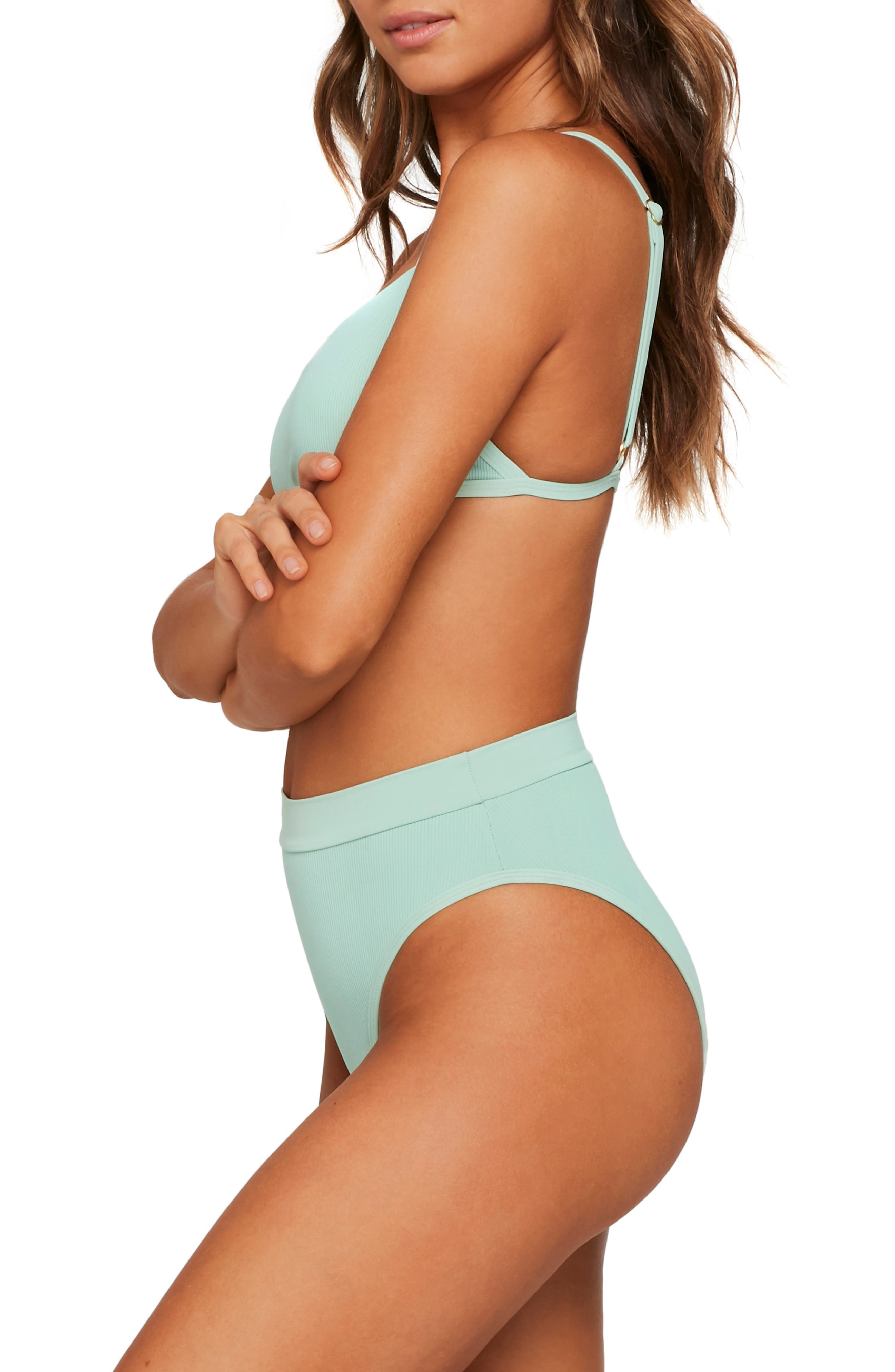 L SPACE, French Cut High Waist Textured Swim Bottoms, Alternate thumbnail 6, color, HIGH TIDE