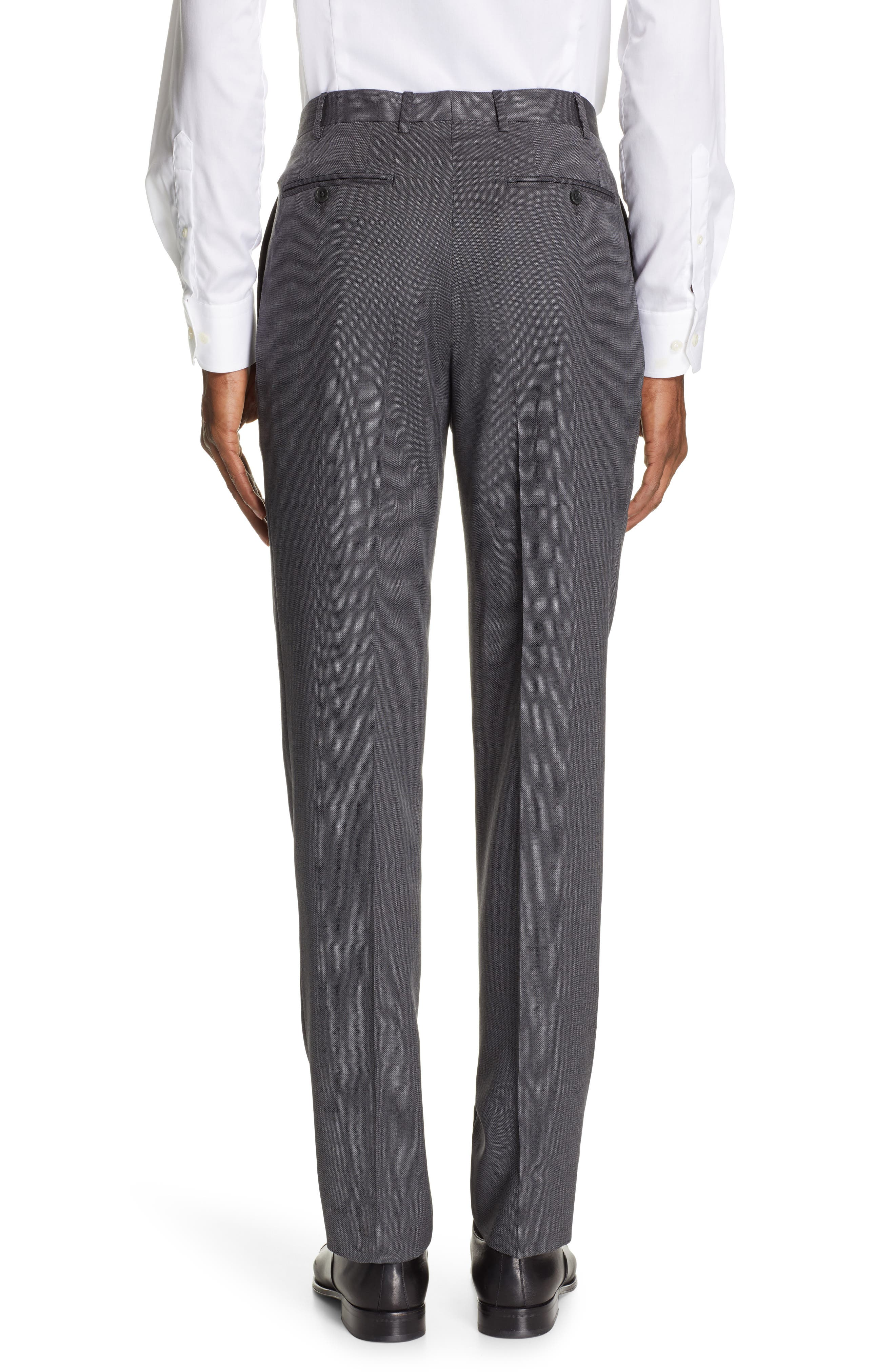 CANALI, Flat Front Solid Wool Trousers, Alternate thumbnail 2, color, CHARCOAL