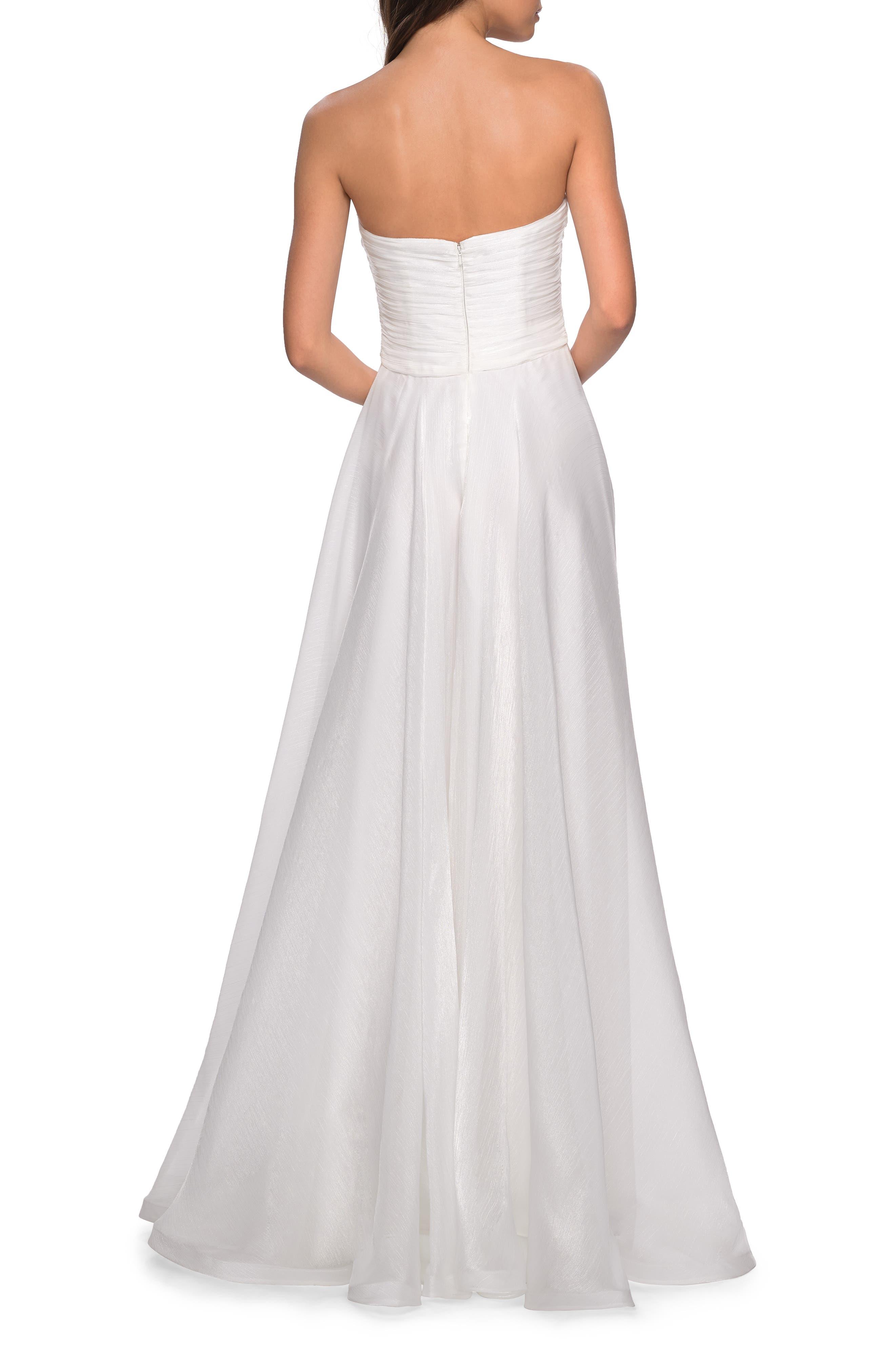 LA FEMME, Strapless Metallic Chiffon Evening Dress, Alternate thumbnail 2, color, WHITE