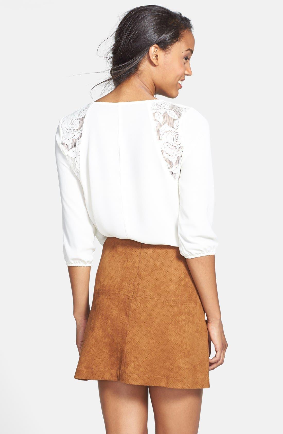 JOLT, Perforated Faux Suede Miniskirt, Alternate thumbnail 3, color, 260