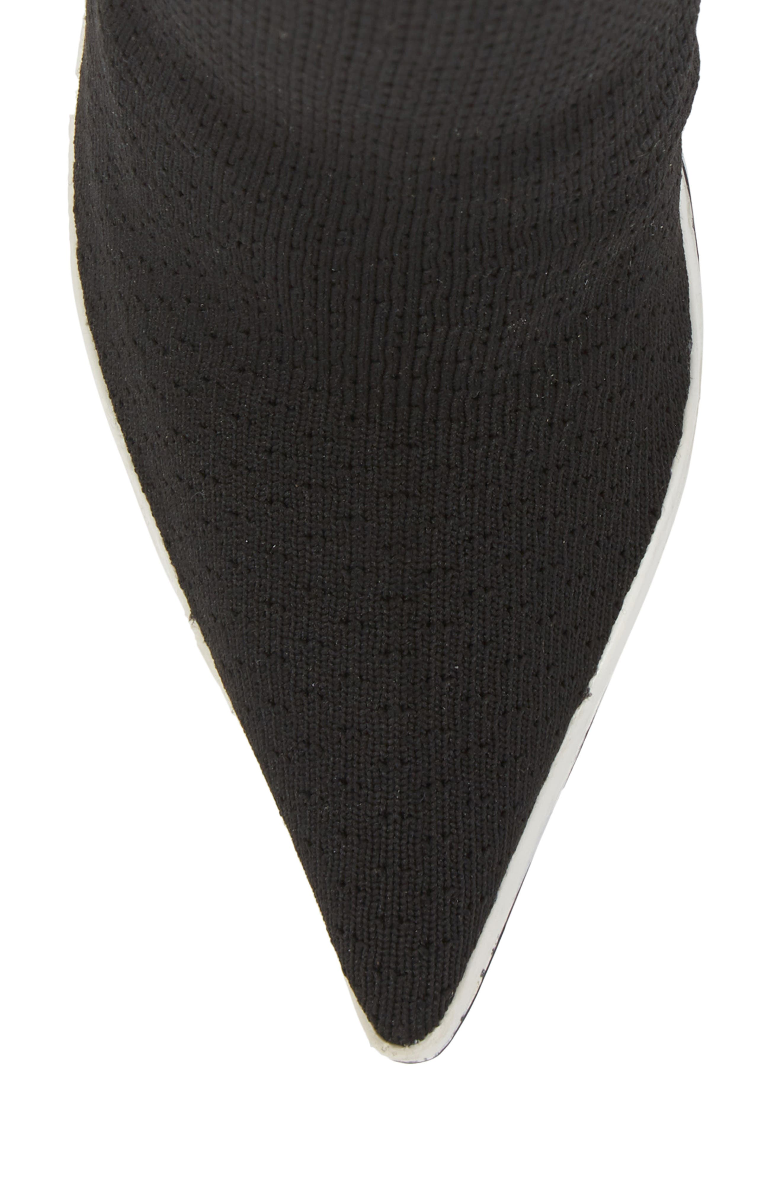 JEFFREY CAMPBELL, Goal Sock Sneaker Bootie, Alternate thumbnail 5, color, BLACK/ WHITE FABRIC