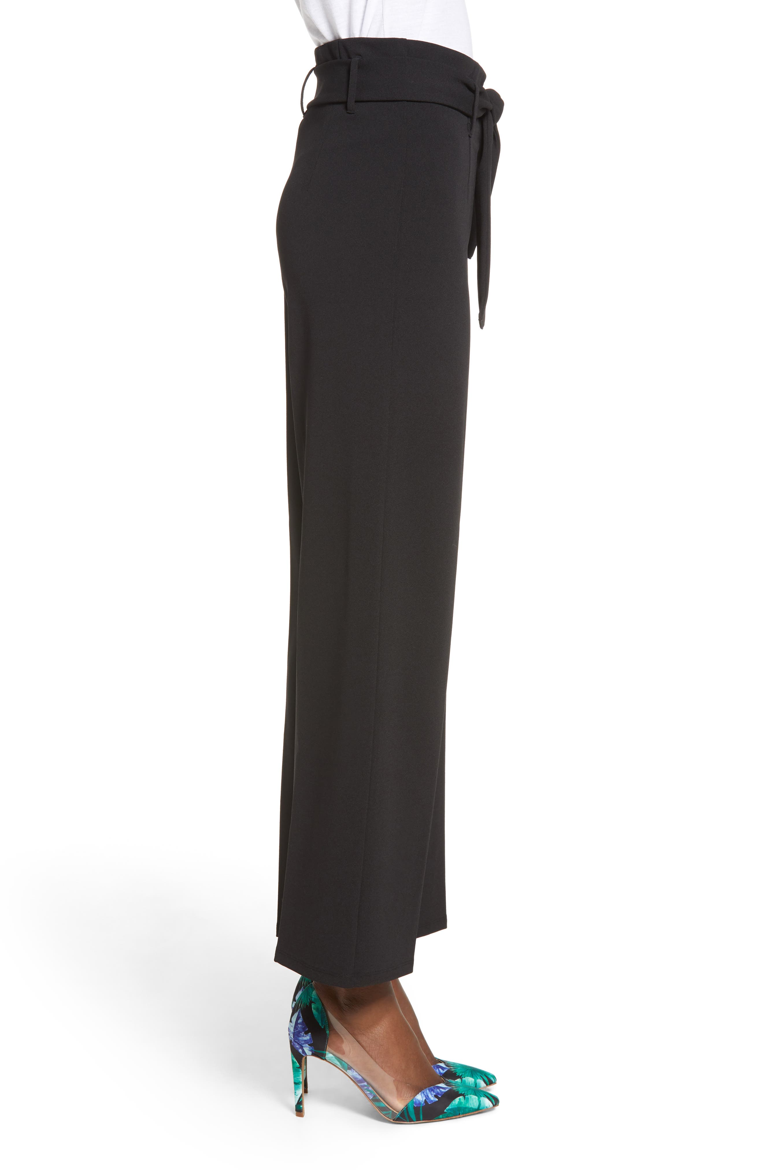 LEITH, High Waist Belted Pants, Alternate thumbnail 4, color, 001