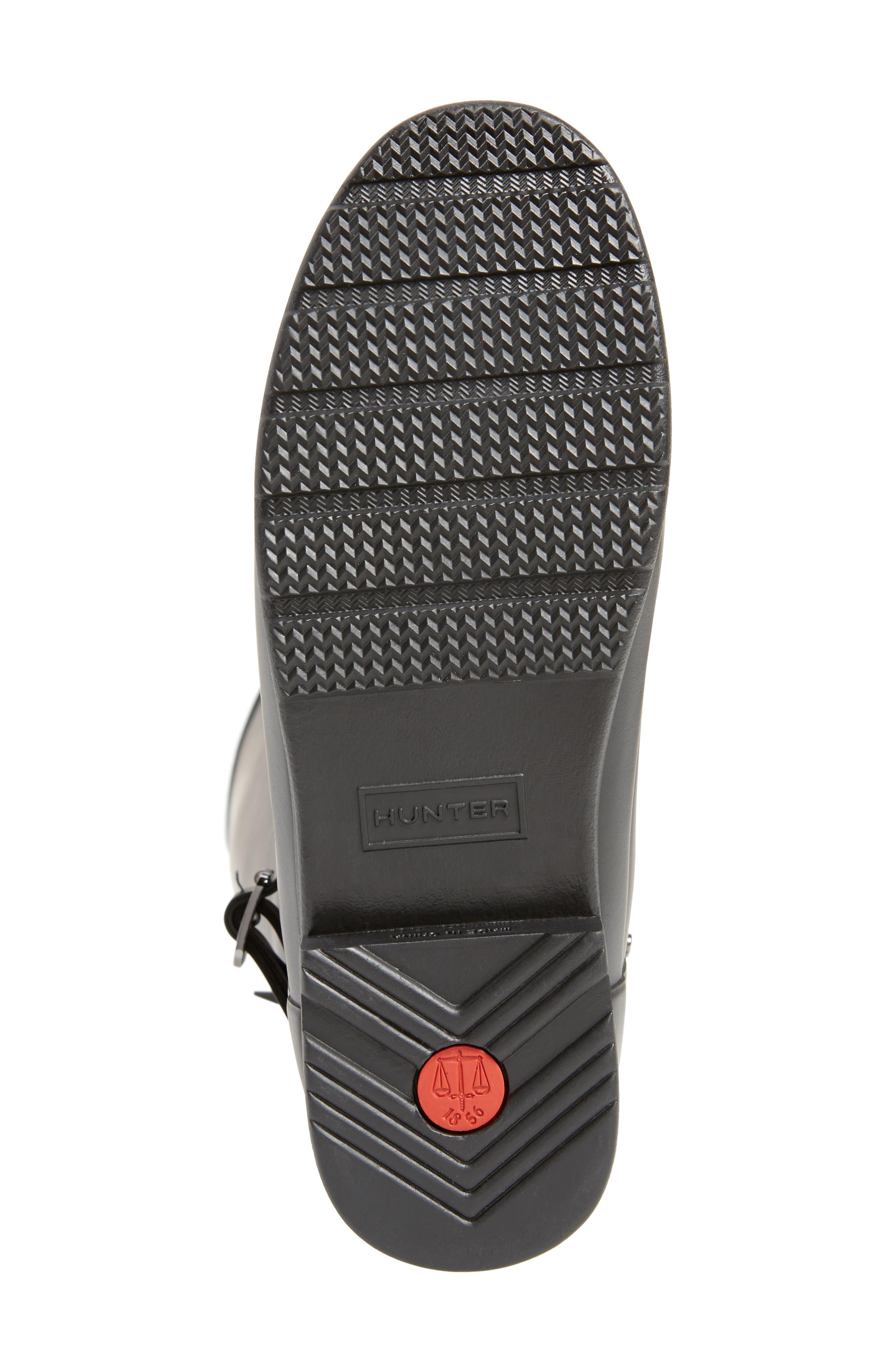 HUNTER, Refined Adjustable Back Knee High Waterproof Rain Boot, Alternate thumbnail 6, color, BLACK