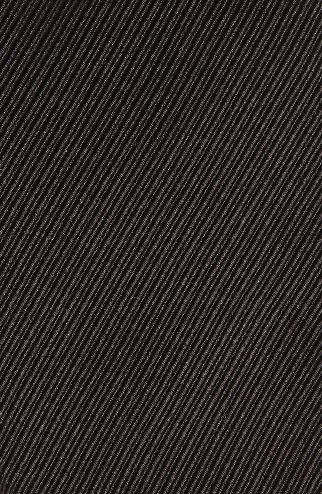 DAVID DONAHUE, Stripe Silk Tie, Alternate thumbnail 2, color, BLACK