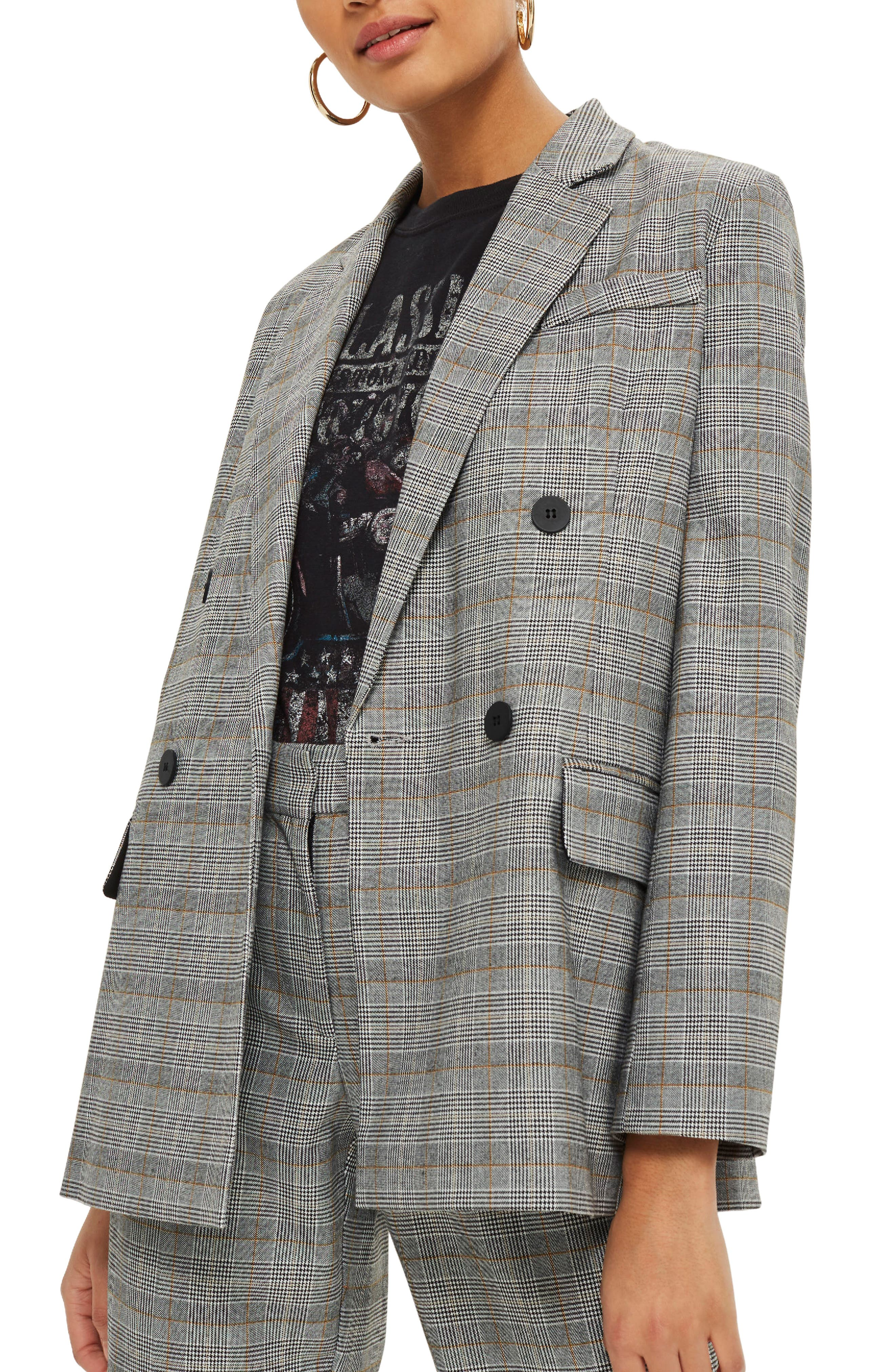 TOPSHOP, Double Breasted Check Jacket, Alternate thumbnail 3, color, 020