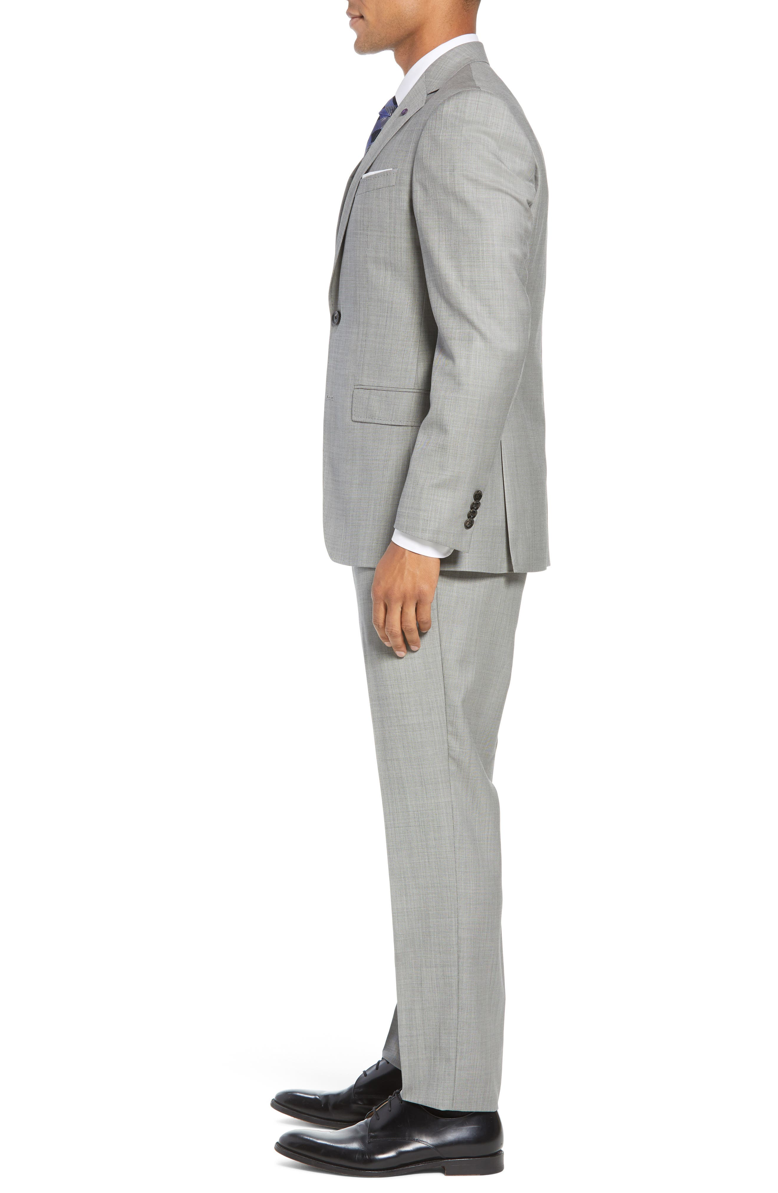 TED BAKER LONDON, Jay Trim Fit Solid Wool Suit, Alternate thumbnail 3, color, LIGHT GREY