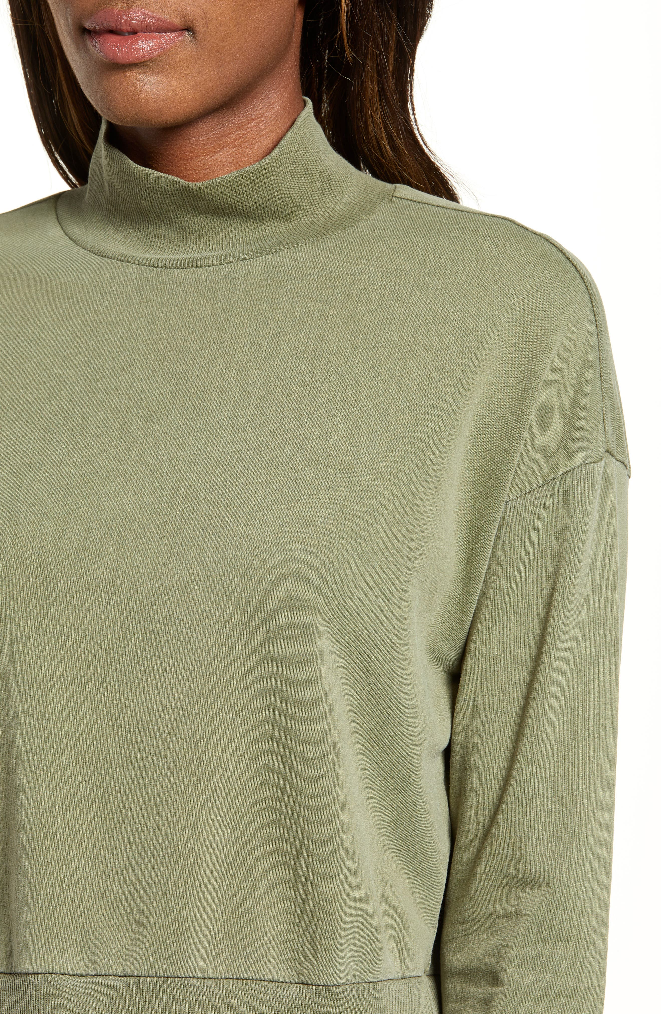 BP., Washed Mock Neck Sweatshirt, Alternate thumbnail 5, color, OLIVE BURNT