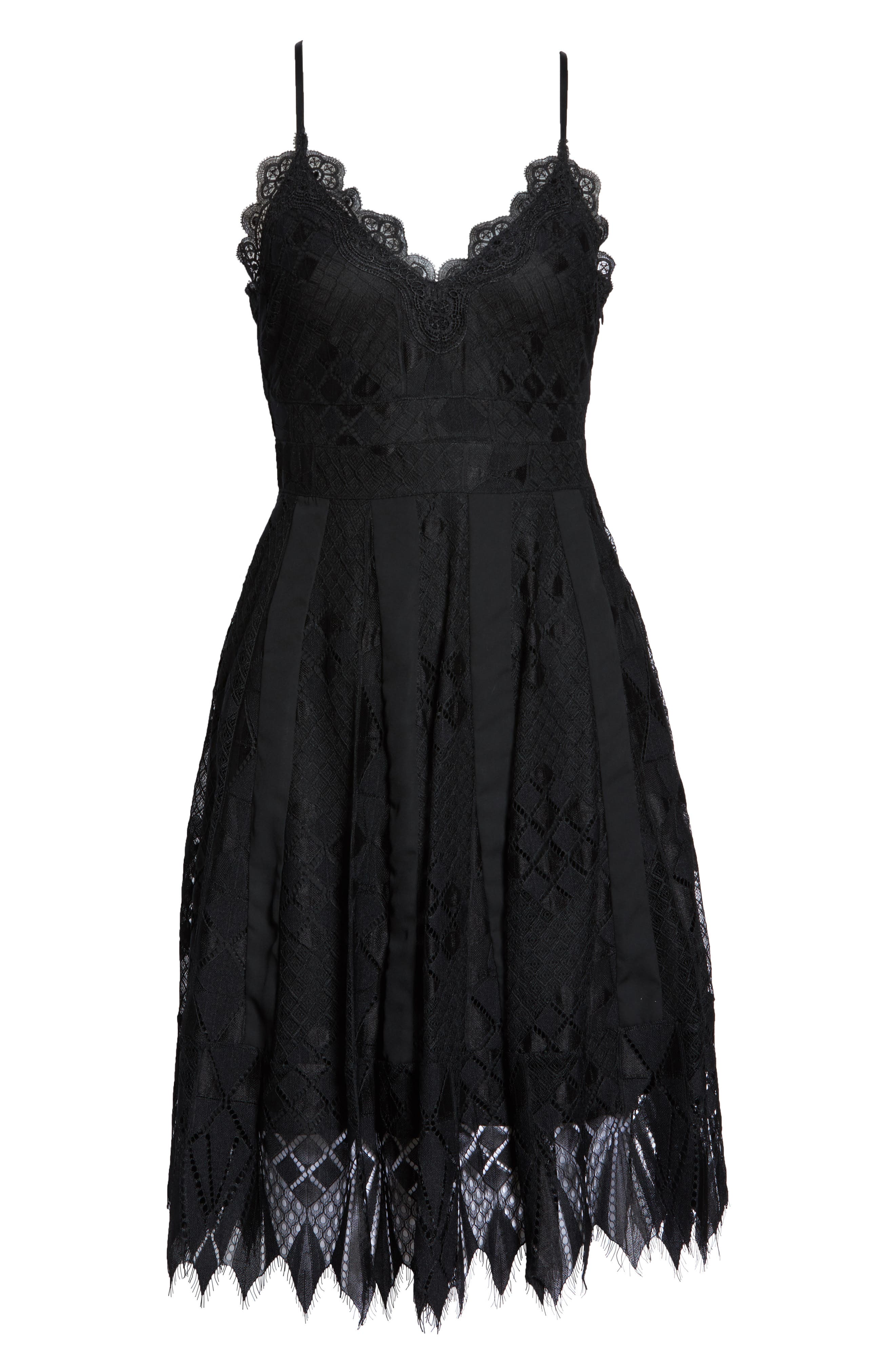 FOXIEDOX, Calla Geometric Lace Dress, Alternate thumbnail 7, color, 001