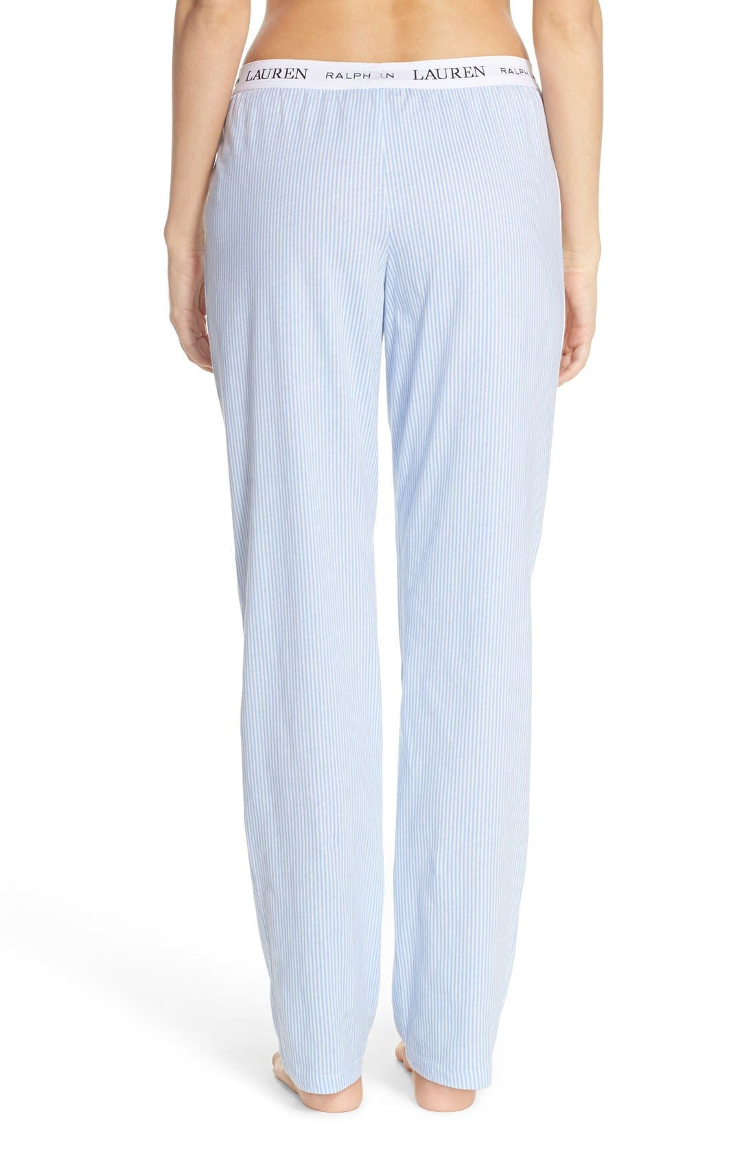 LAUREN RALPH LAUREN, Logo Waistband Lounge Pants, Alternate thumbnail 4, color, STRIPE PALE BLUE/ WHITE