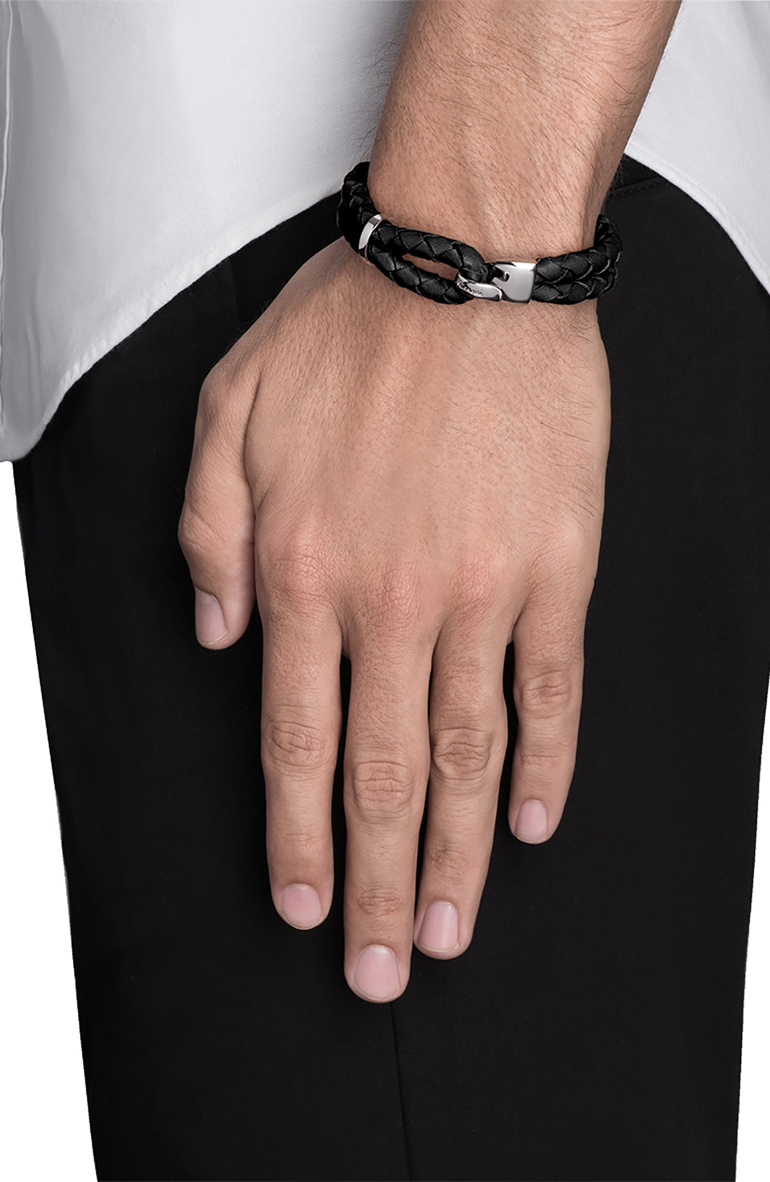 MIANSAI, Beacon Braided Leather Bracelet, Alternate thumbnail 2, color, BLACK