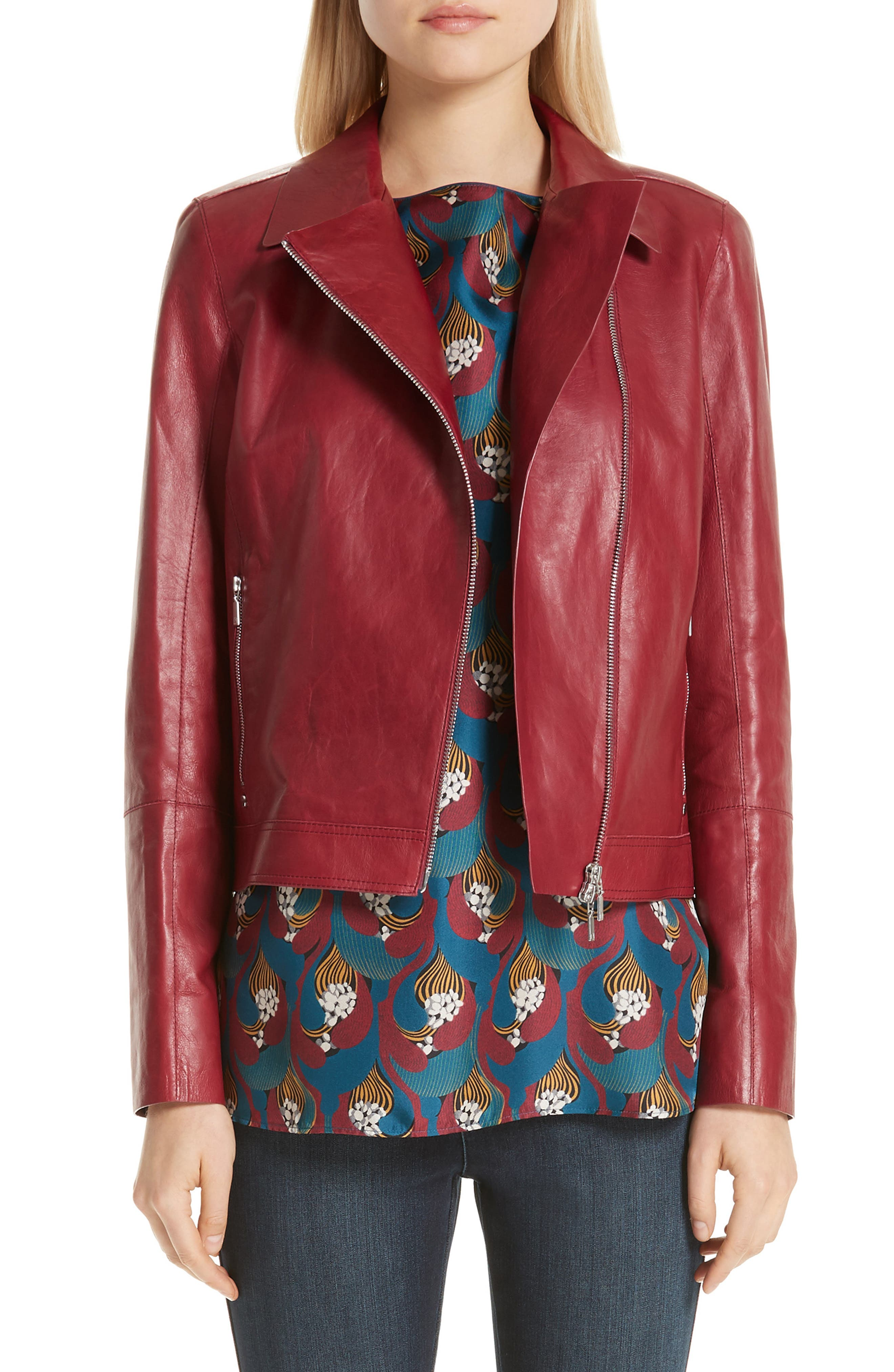 LAFAYETTE 148 NEW YORK Marykate Leather Moto Jacket, Main, color, 600