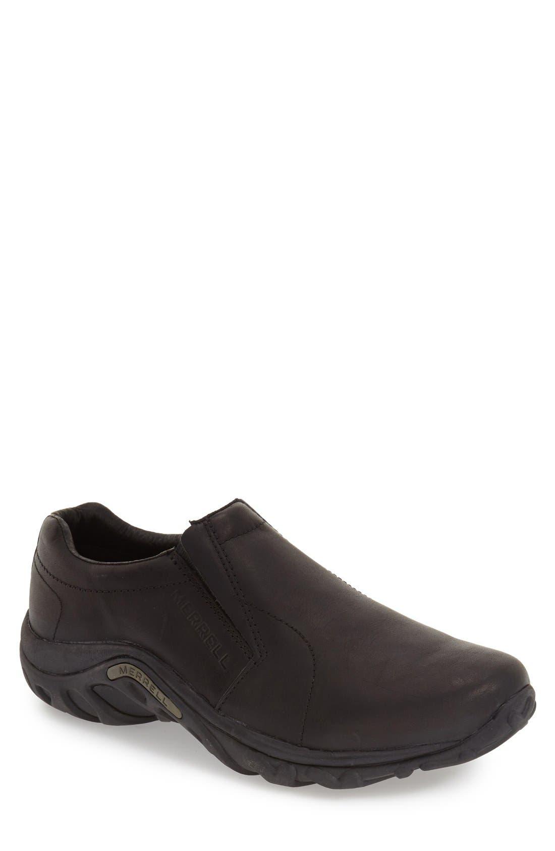 MERRELL, 'Jungle Moc' Leather Athletic Slip-On, Main thumbnail 1, color, BLACK