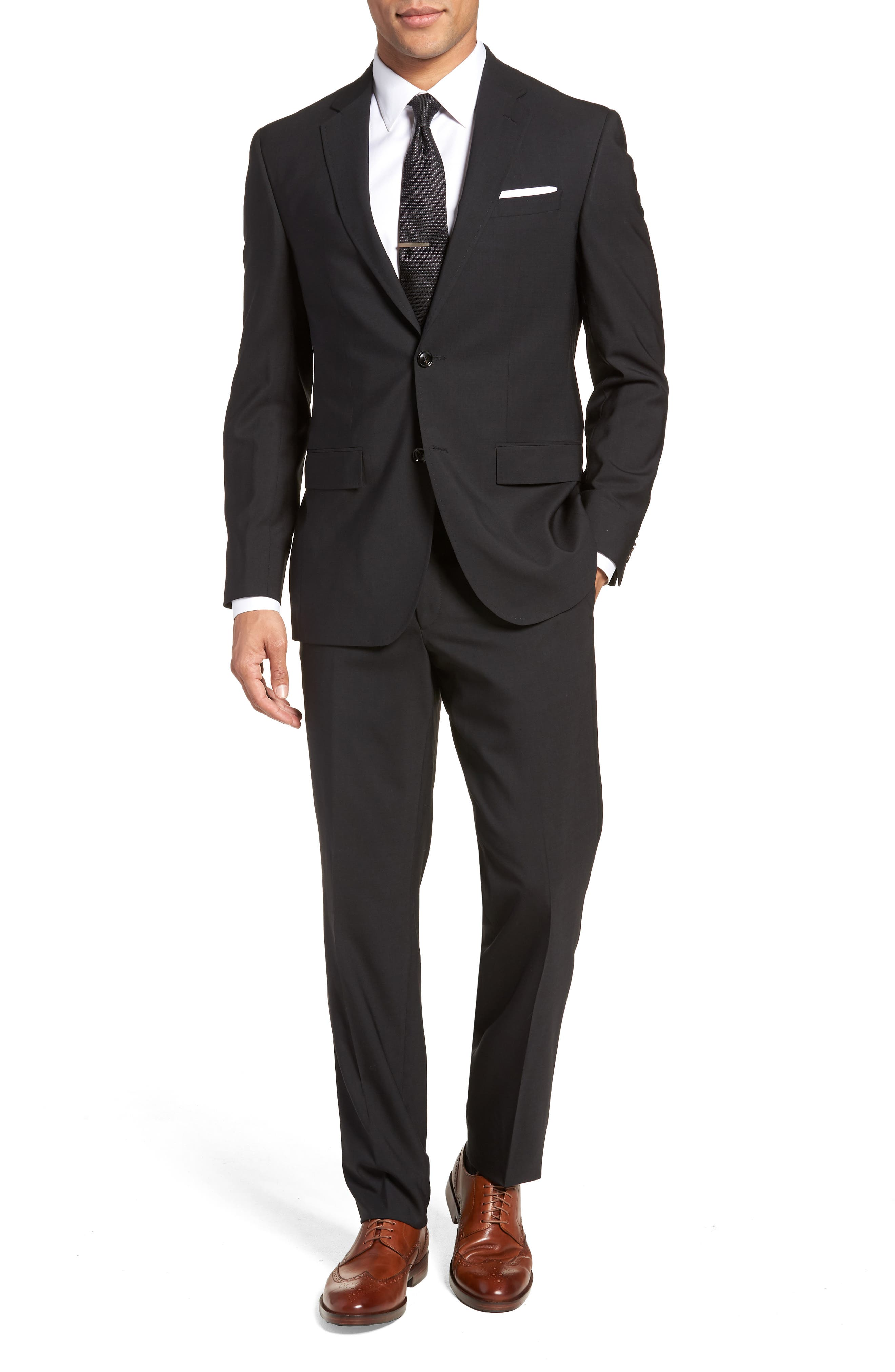 TED BAKER LONDON, Jay Trim Fit Solid Wool Suit, Main thumbnail 1, color, BLACK